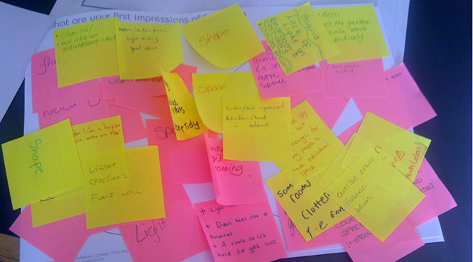 Lots of post-it noest to help design ideas