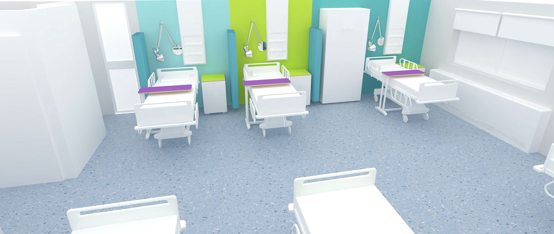Beds differentiated by colour within the bay ward at Yeovil District Hospital