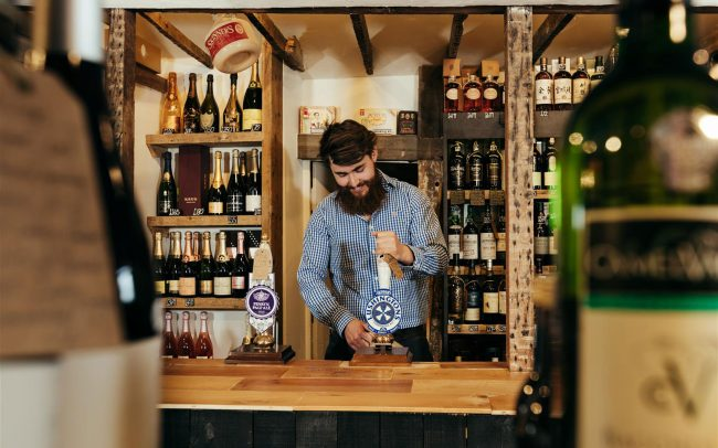 Timber counter designed for John's Off-Licence