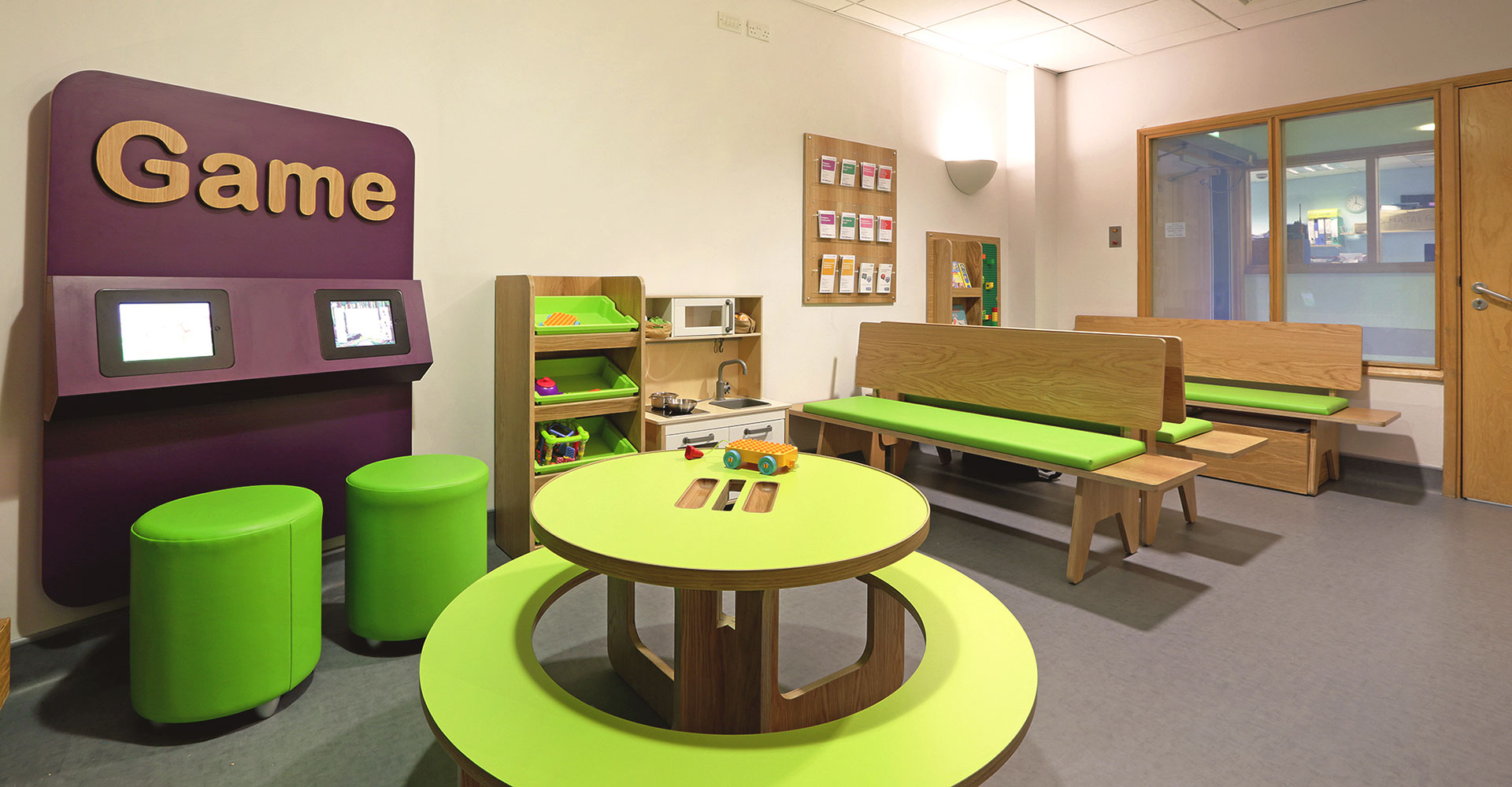 Bespoke furniture designed by Boex for children's A&E waiting area