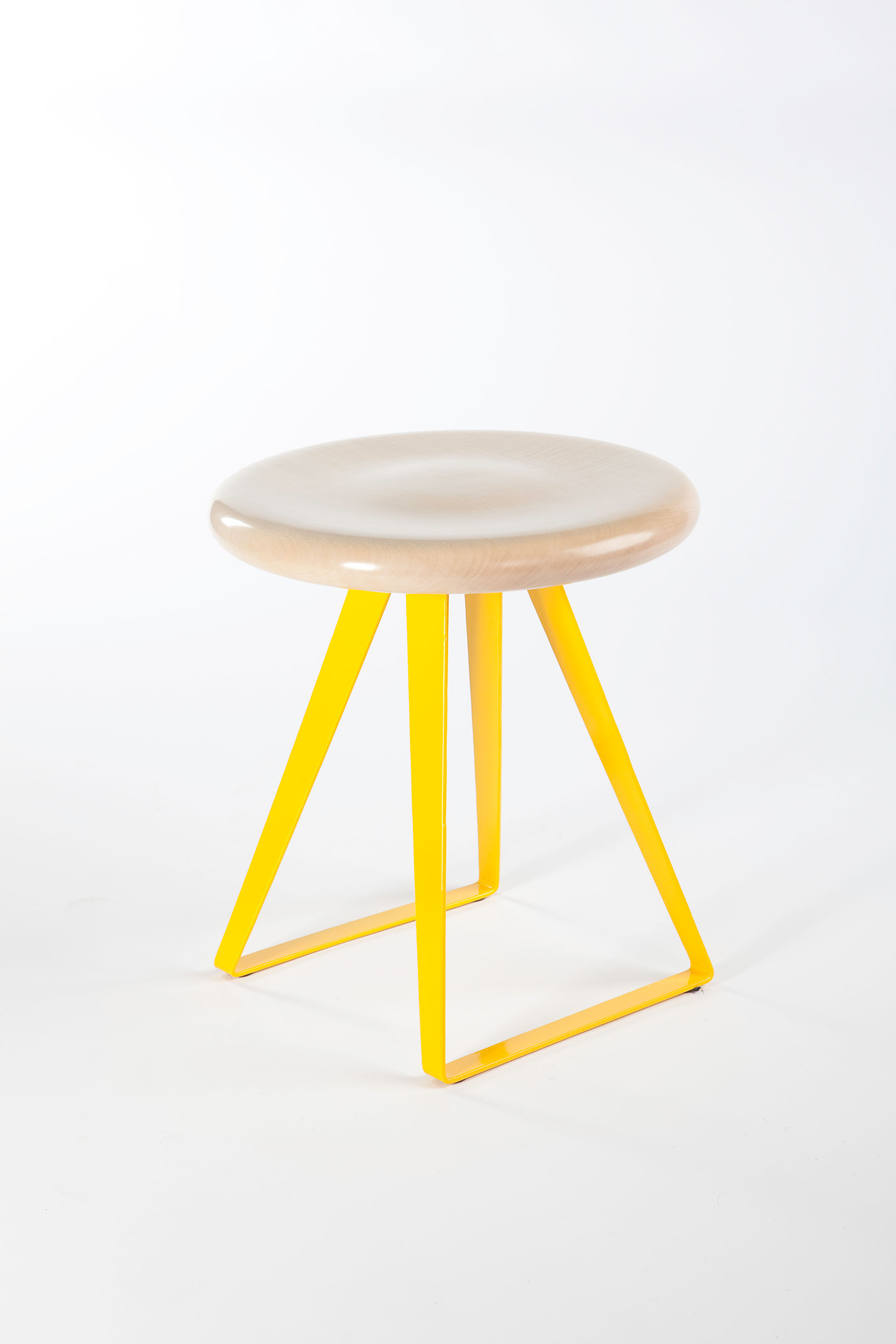 Yellow steel leg stool