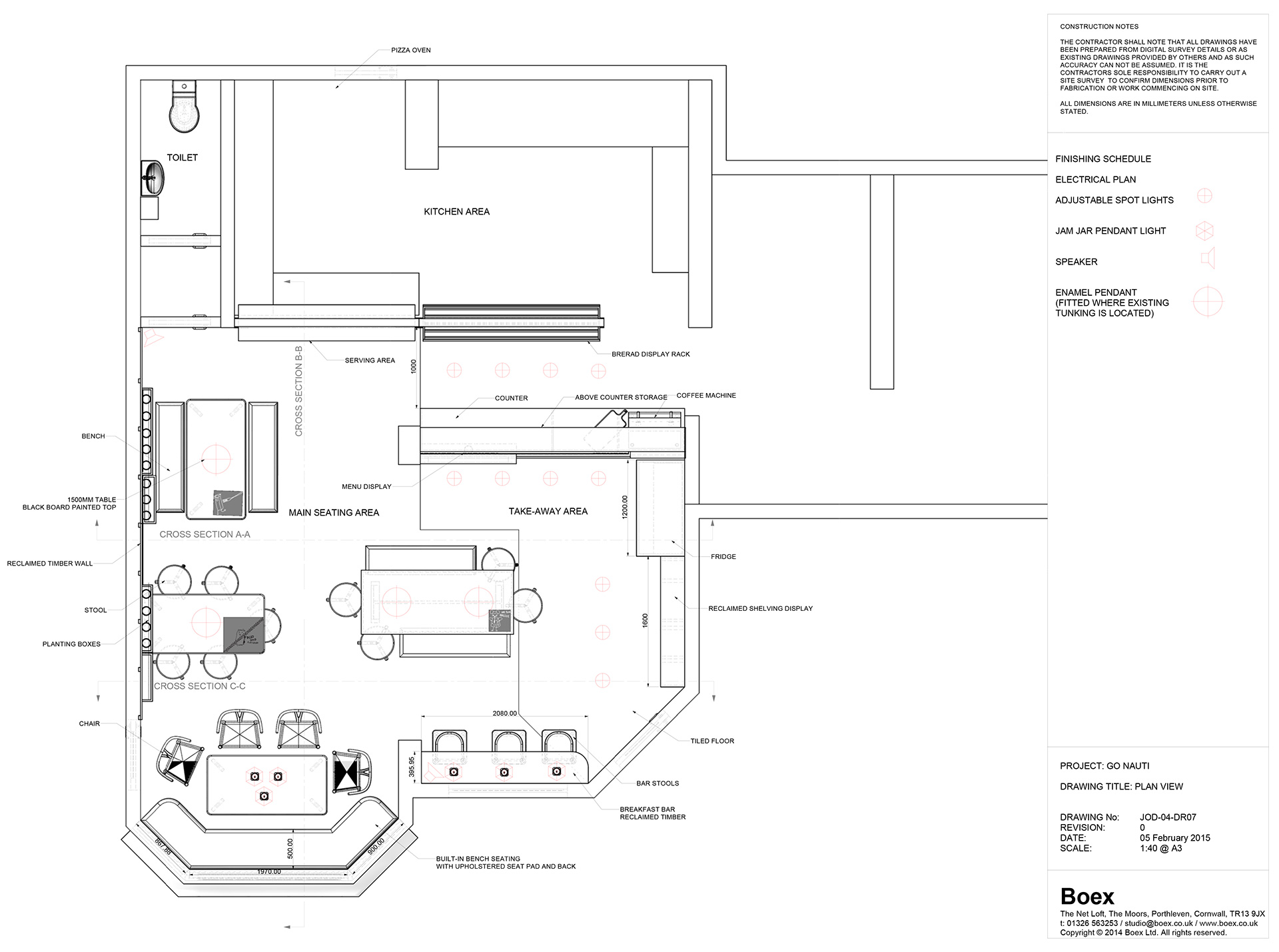 Space Planning for Go Nauti cafe design