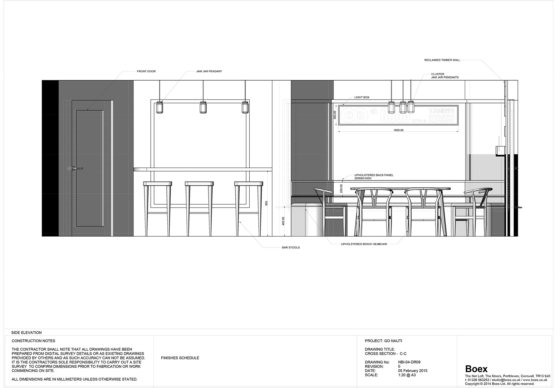 Cross section specification for Go Nauti cafe Porthleven