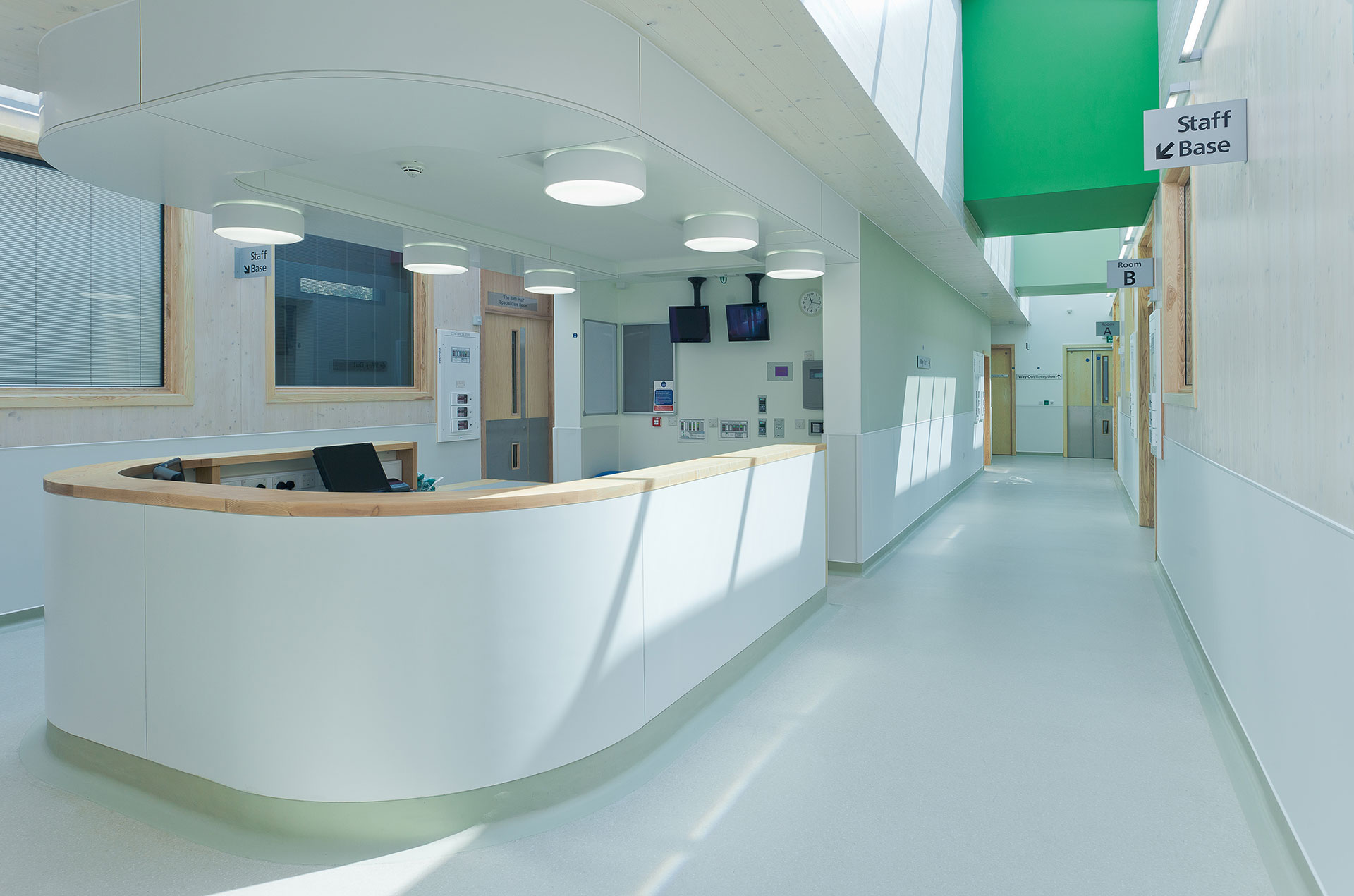 Eye catching colours in NHS hopsital designed by Boex