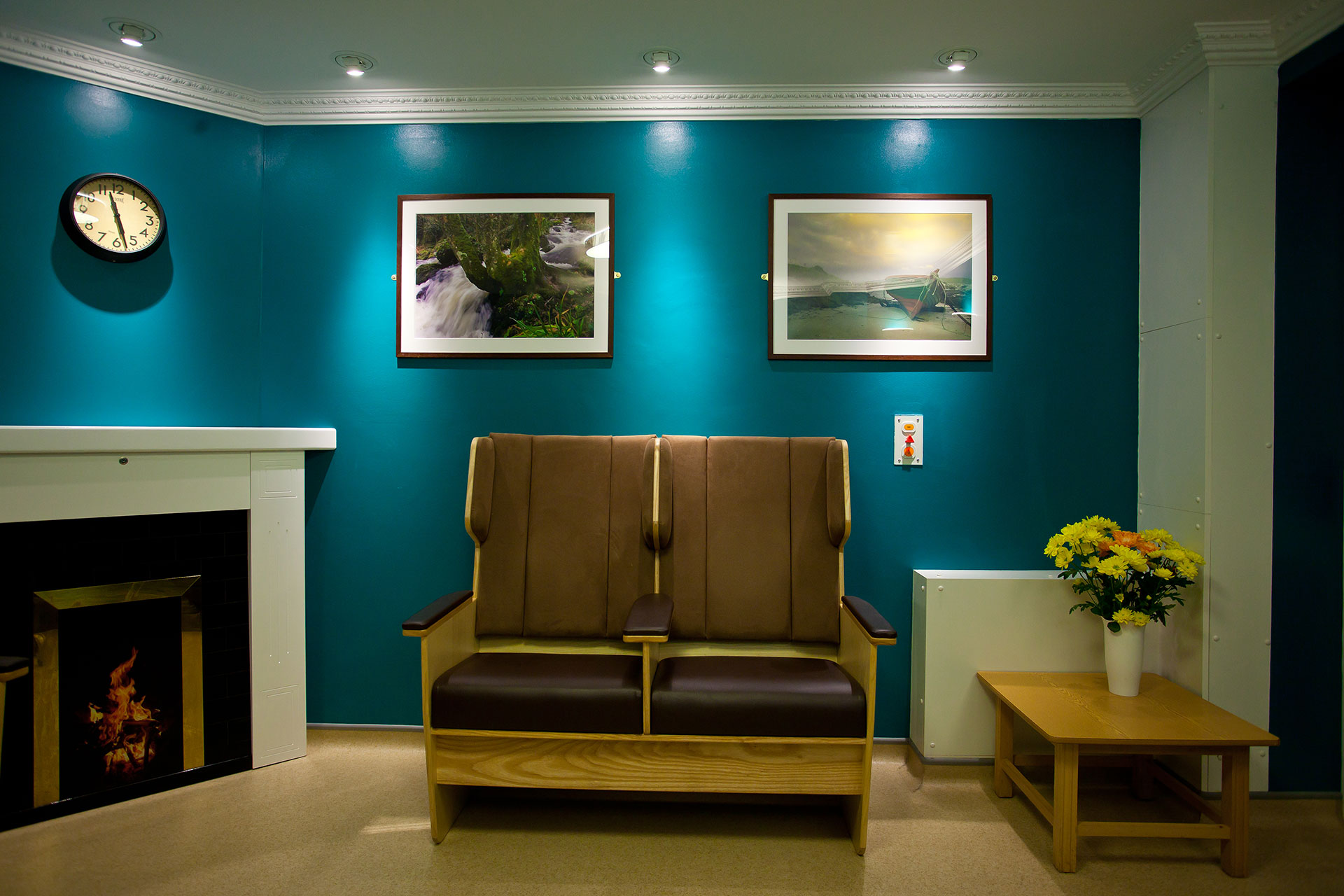 Dark seating upholstery to help the visually impaired patients at Cove Ward