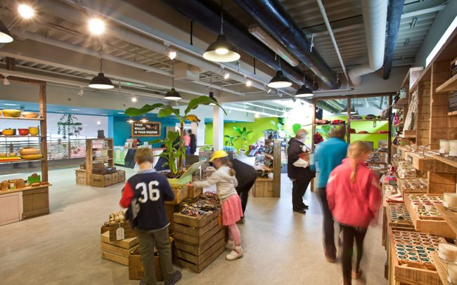 Reclaimed crates used to display merchandise at Eden Project