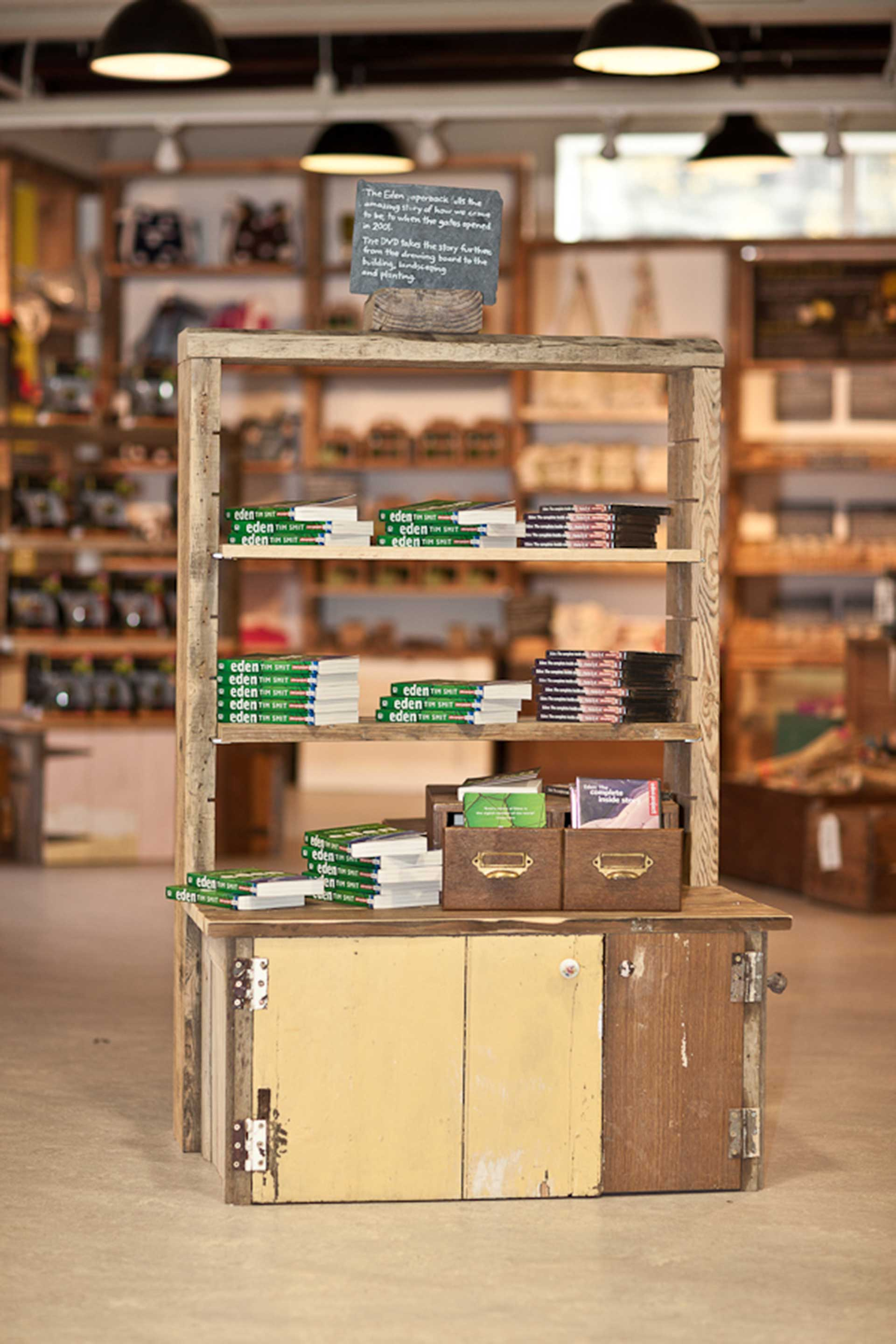 Bespoke reclaimed wood free standing unit at Eden Project