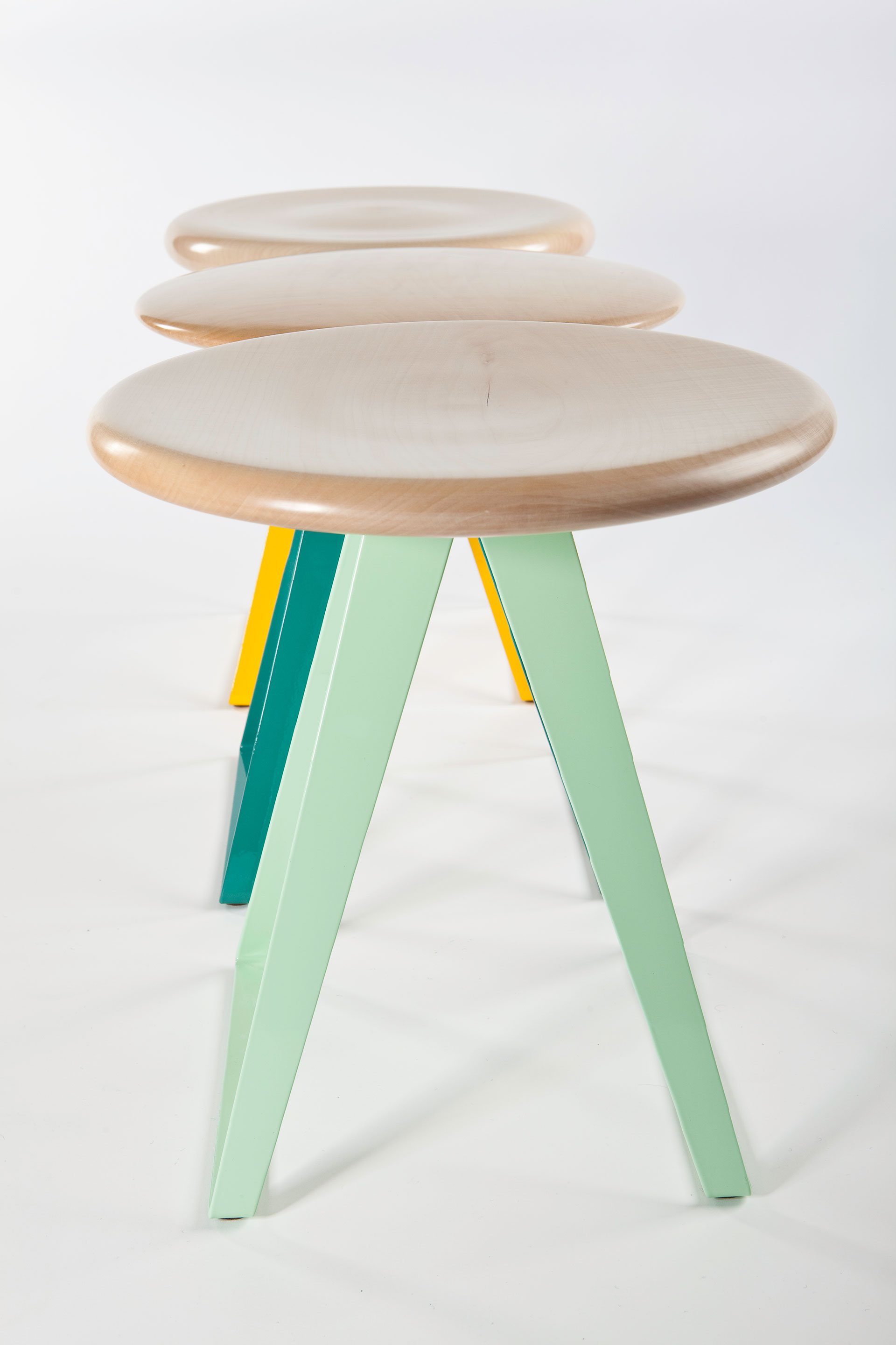 Handcrafted stool made of solid sycamore