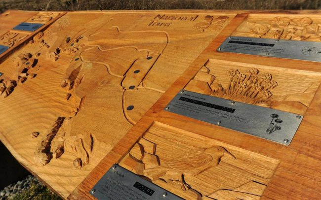 Hand carved wood sign and nature sights for National Trust