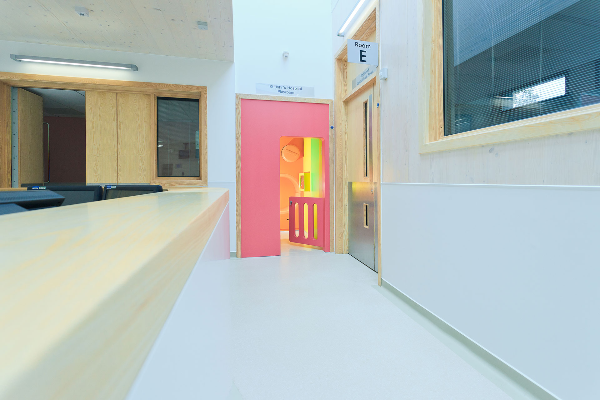 Attractive colour palette for young children at neonatal sibling play room