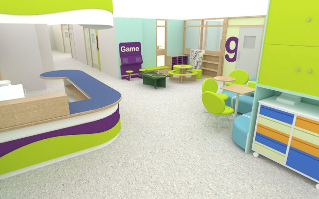 Brand colours influencing Yeovil Level 10 Pediatric day space