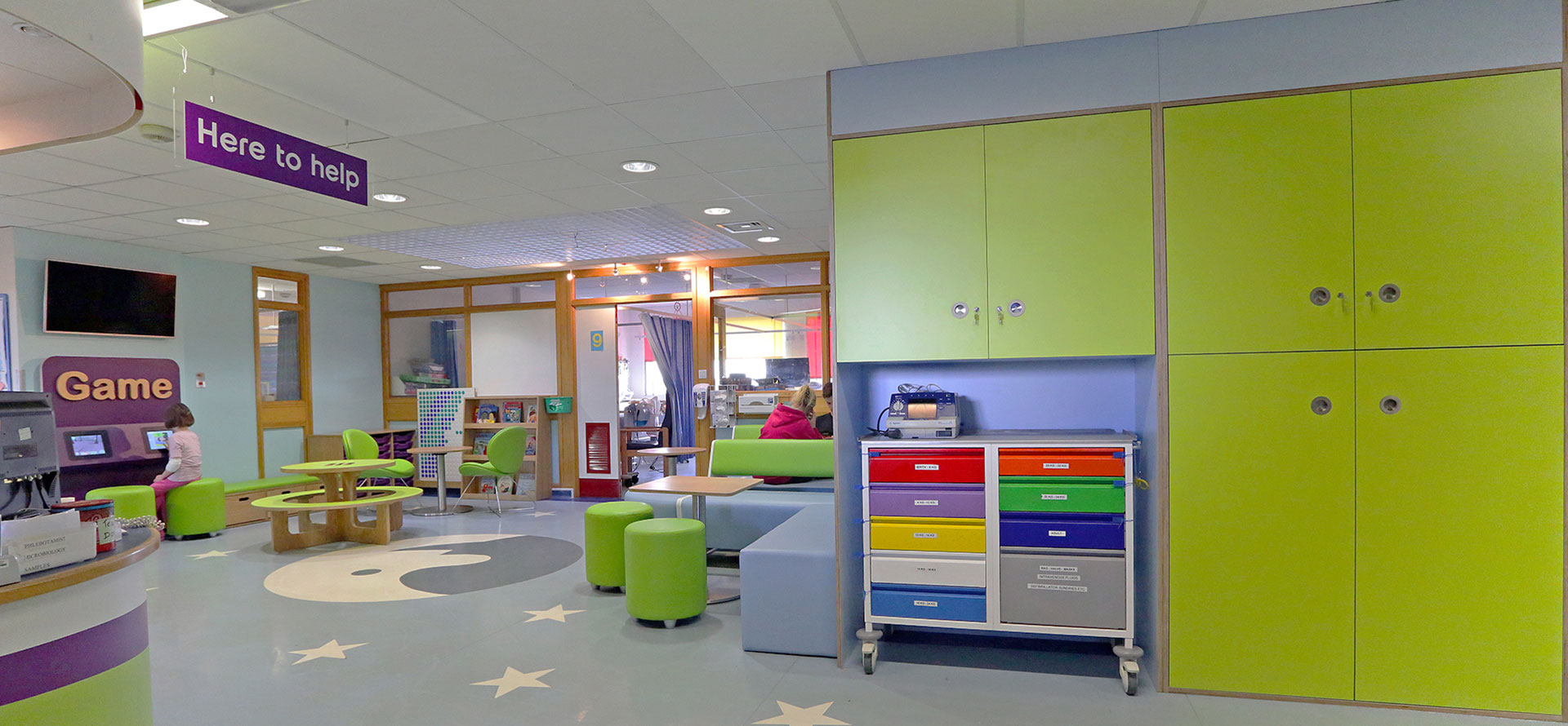 Wayfinding floor graphics within the Pediatric Day Space at Yeovil District Hospital