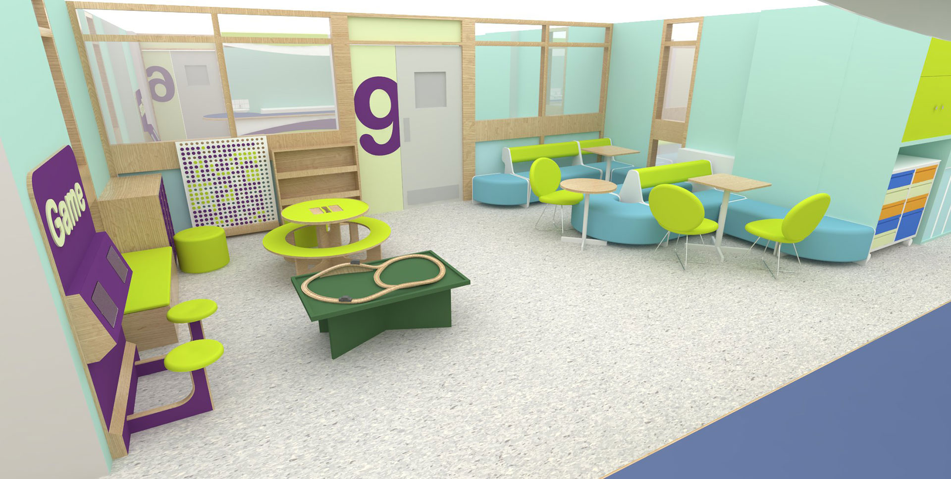Ipad interactives within Yeovil Pediatric Day space