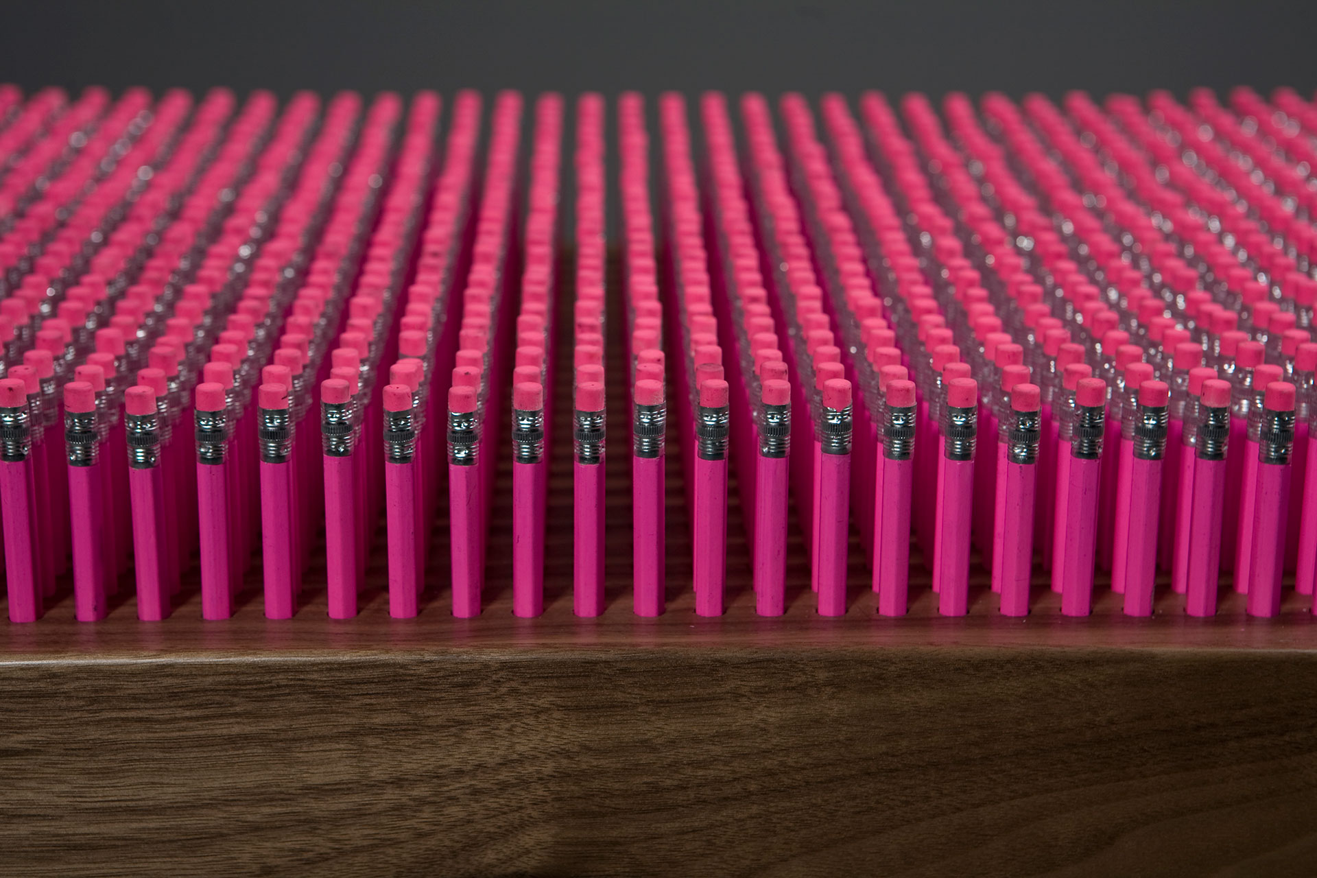 Pink pencil detail used in pencil bench