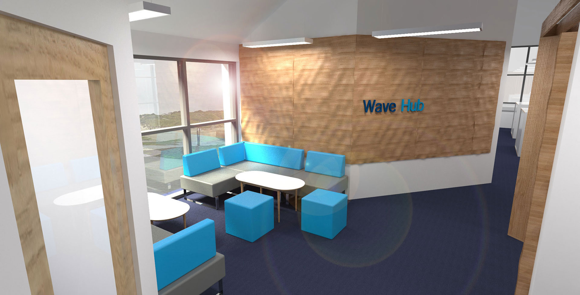 Tactile wave wall panels within office interior