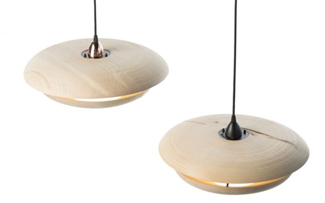 Hand turned timber lights designed by Boex