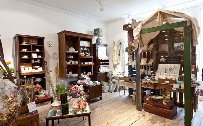 Quirky timber retail display units at Uneeka Truro