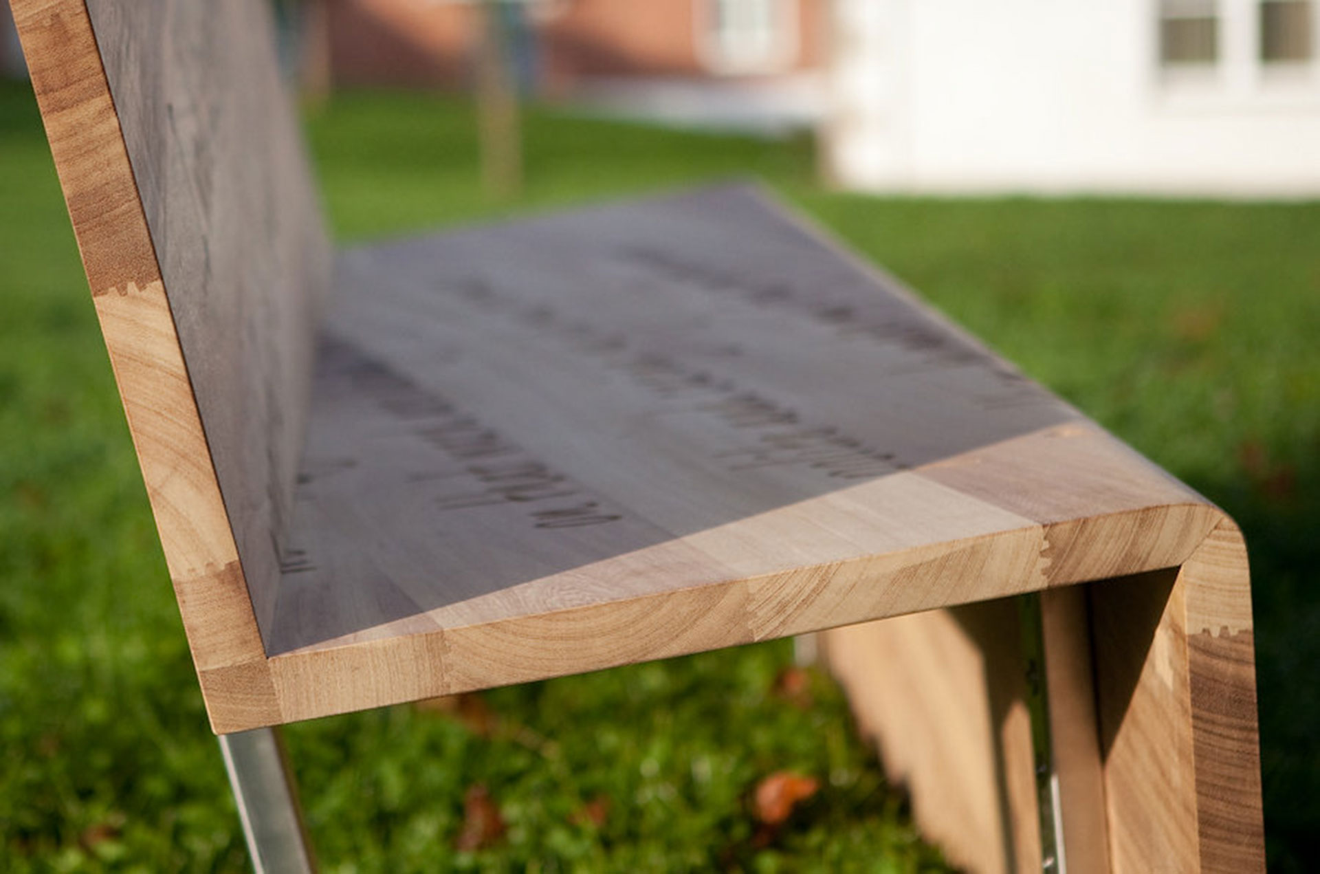 Oak bench with stainless steel bench frame