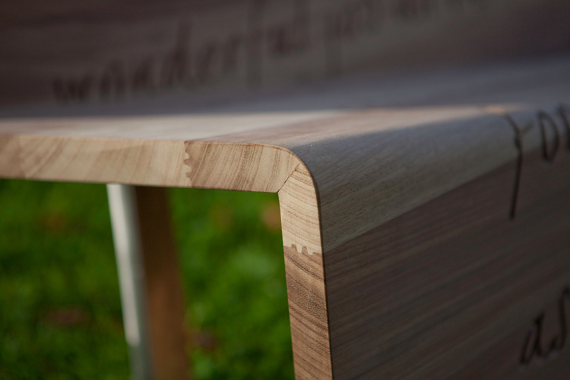 Timber bench detail designed for NHS
