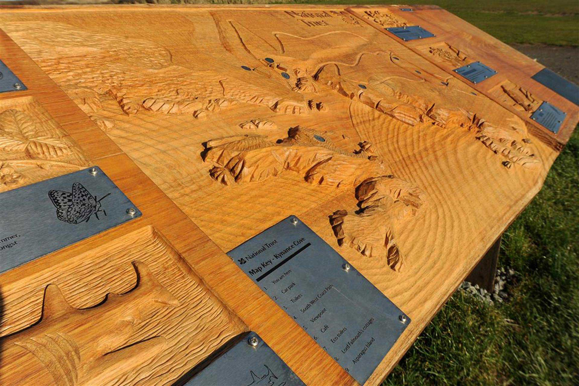 Hand carved wood signage for National Trust at Kynance Cove