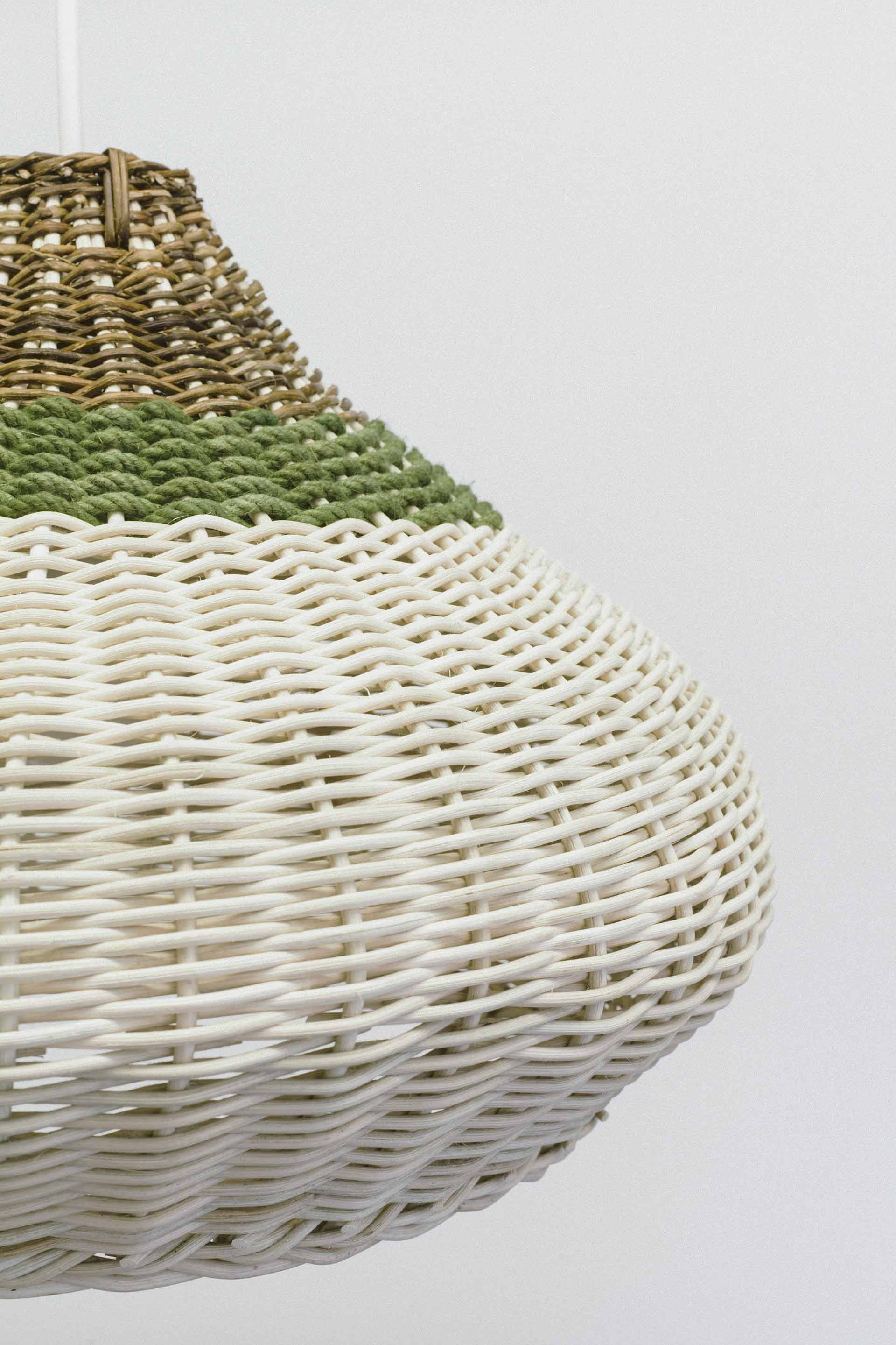 Detail of green band willow pendant designed by Boex