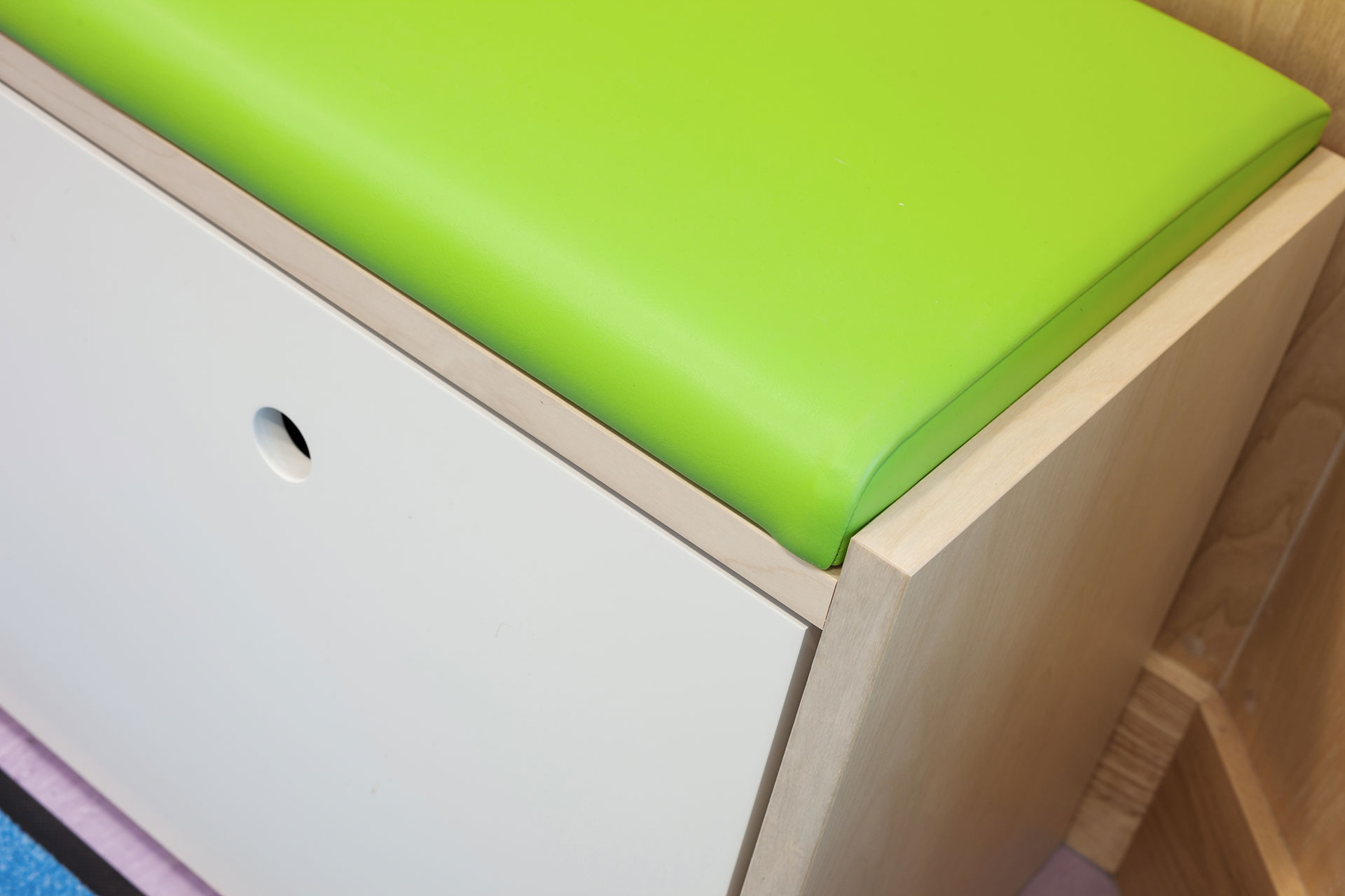 Infection control upholstery used for seating pad in teenagers day room