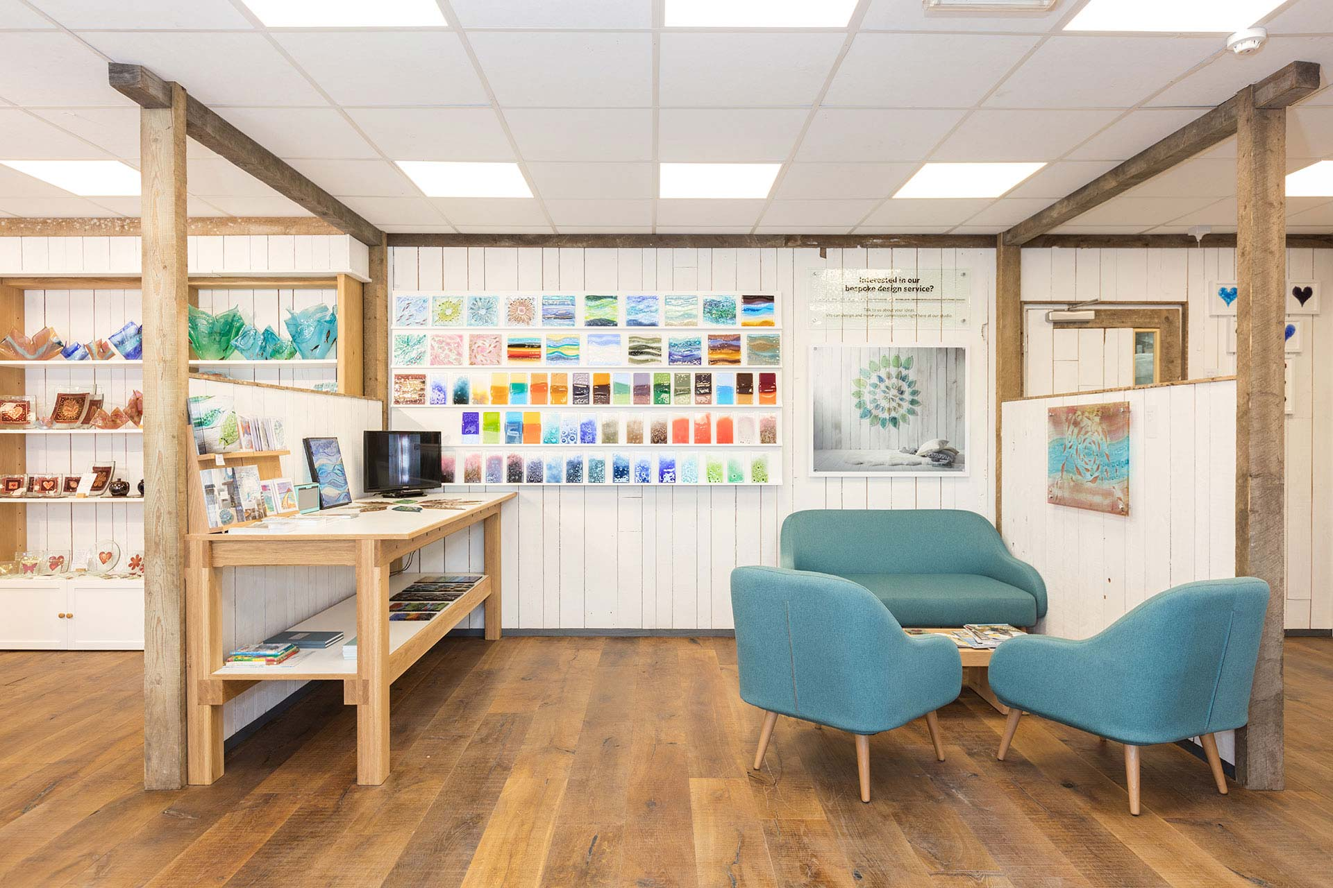 Informal seating area at Jo Down's store designed by Boex
