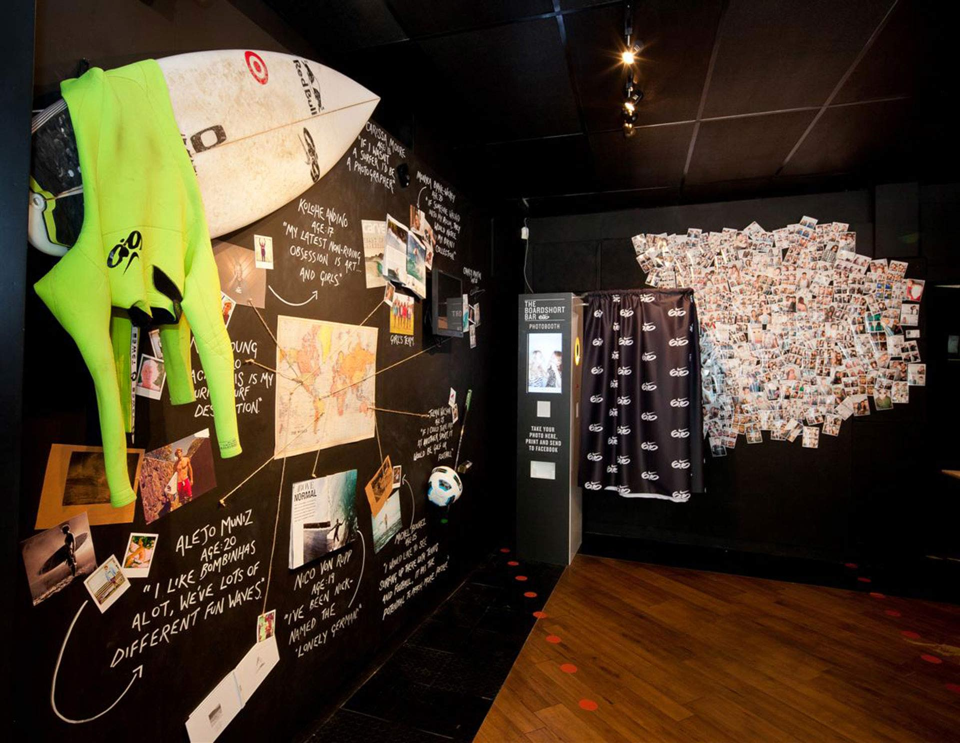 artefacts and quotes feature board next to Nike photo booth