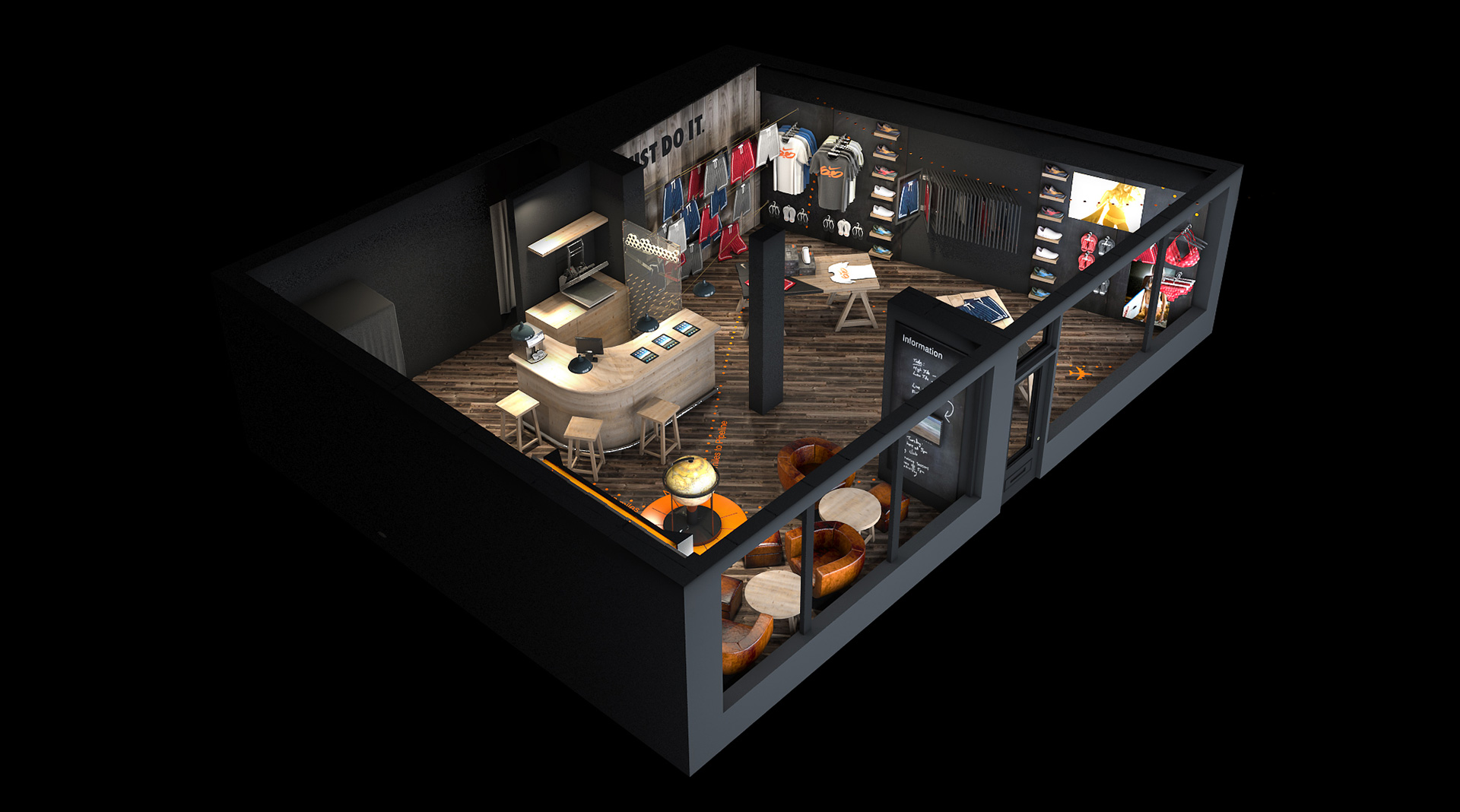 3D Perspective visualisation for Nike pop-up store