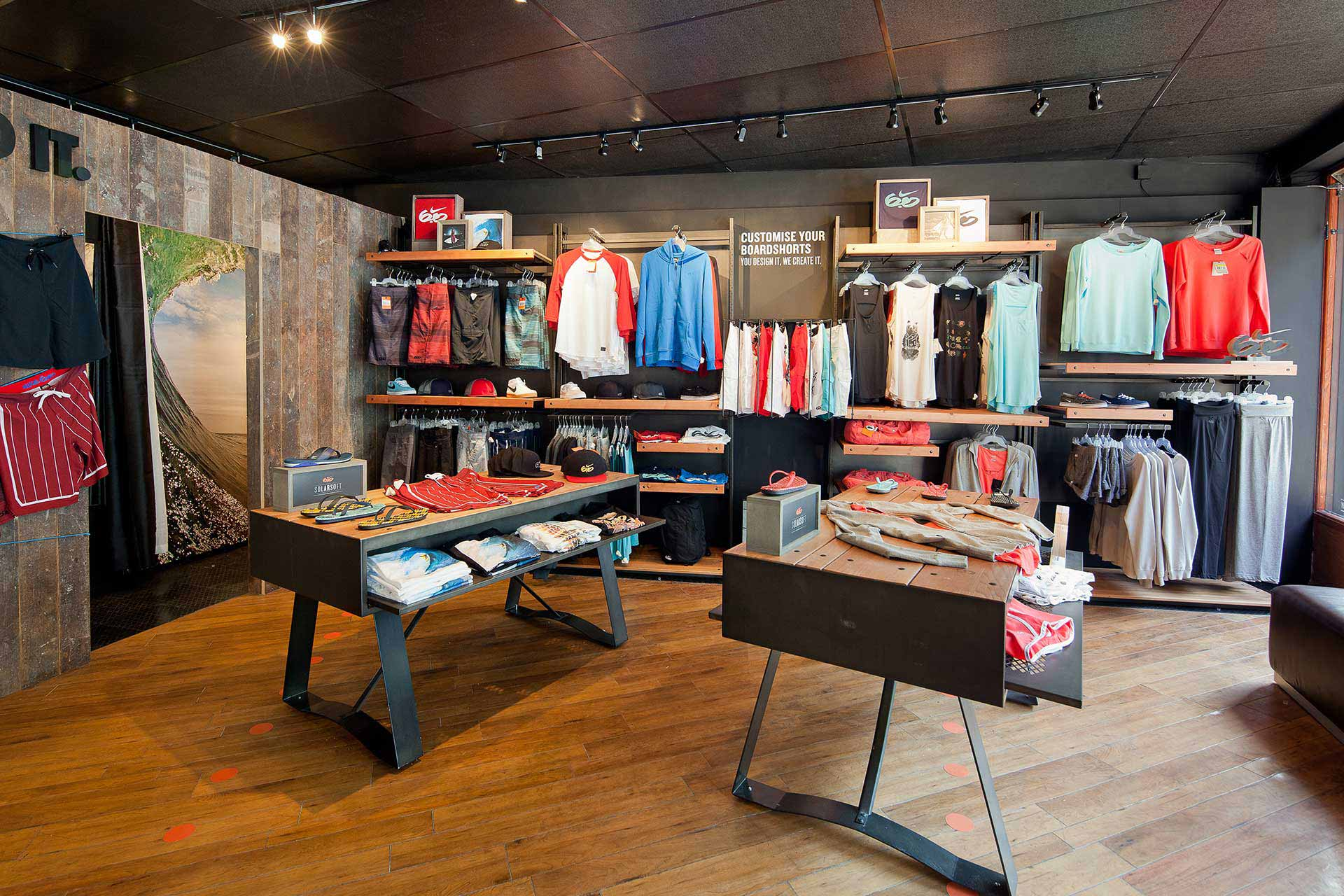 Reclaimed floor boards and shelves at Nike pop-up store