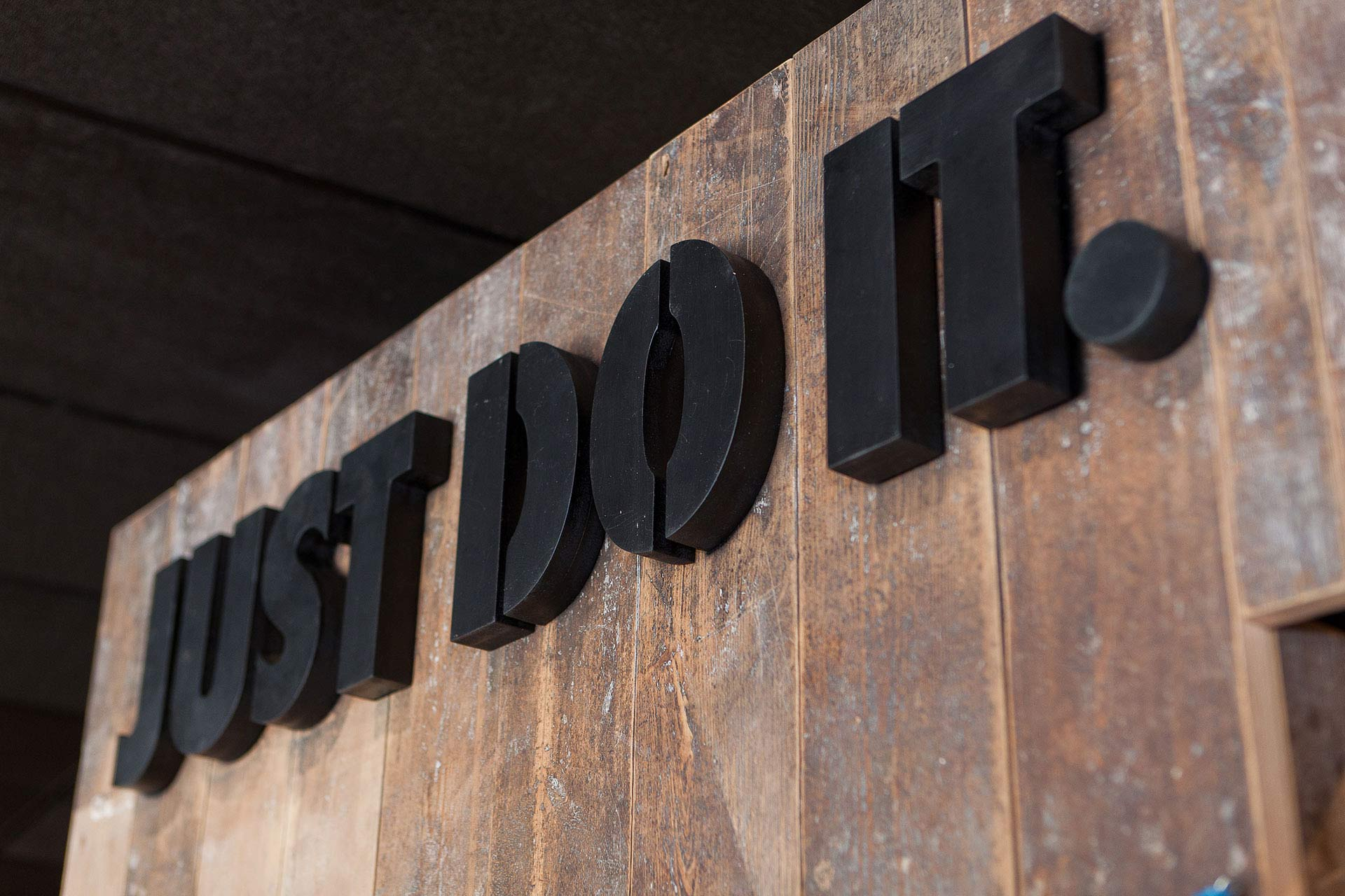 The Nike 'Just Do It' sign, a focal point in the store