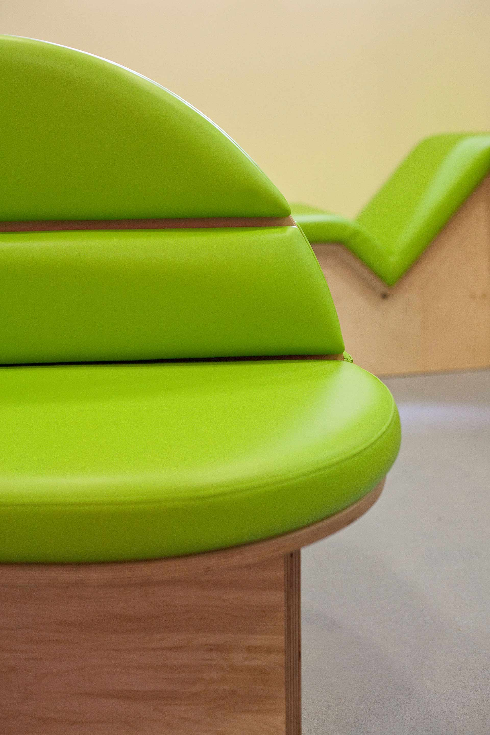 Infection control upholstery on padded seating at Salisbury District Hospital