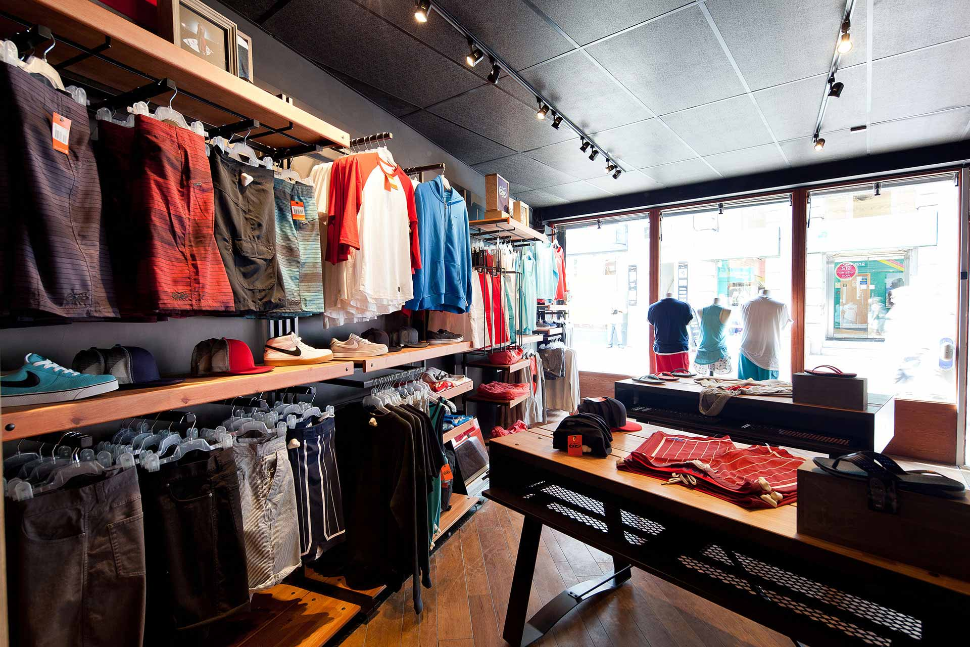 Black walls act as back drop for Nike merchandise