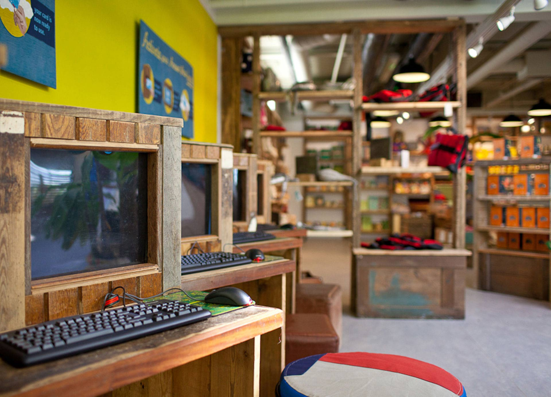 Computer display fitted within reclaimed unit at Eden Project