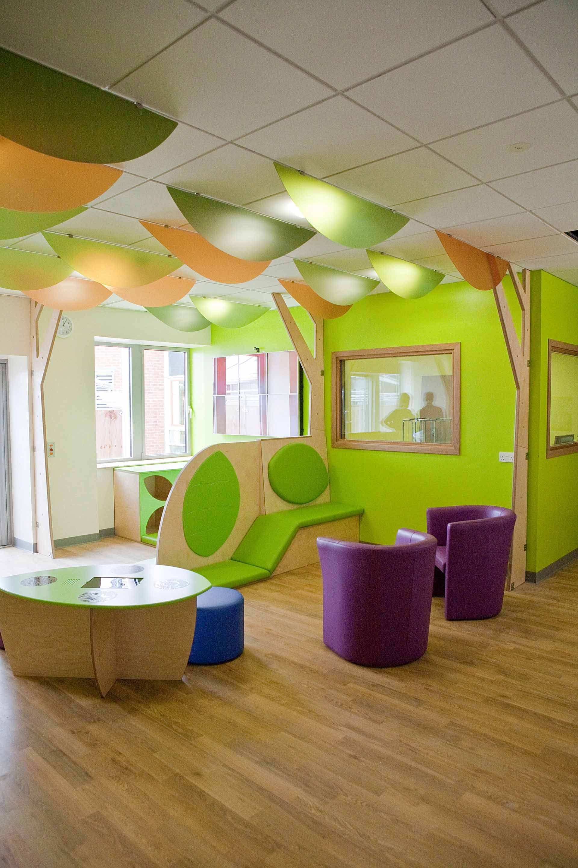 Colourful teenage waiting room designed by Boex