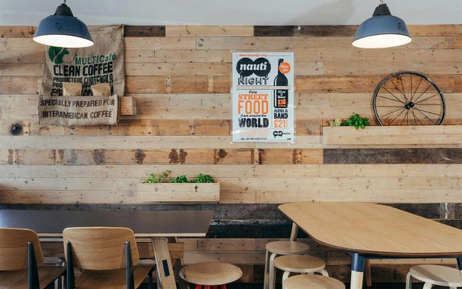 Timber clad wall in Go Nauti cafe Porthleven