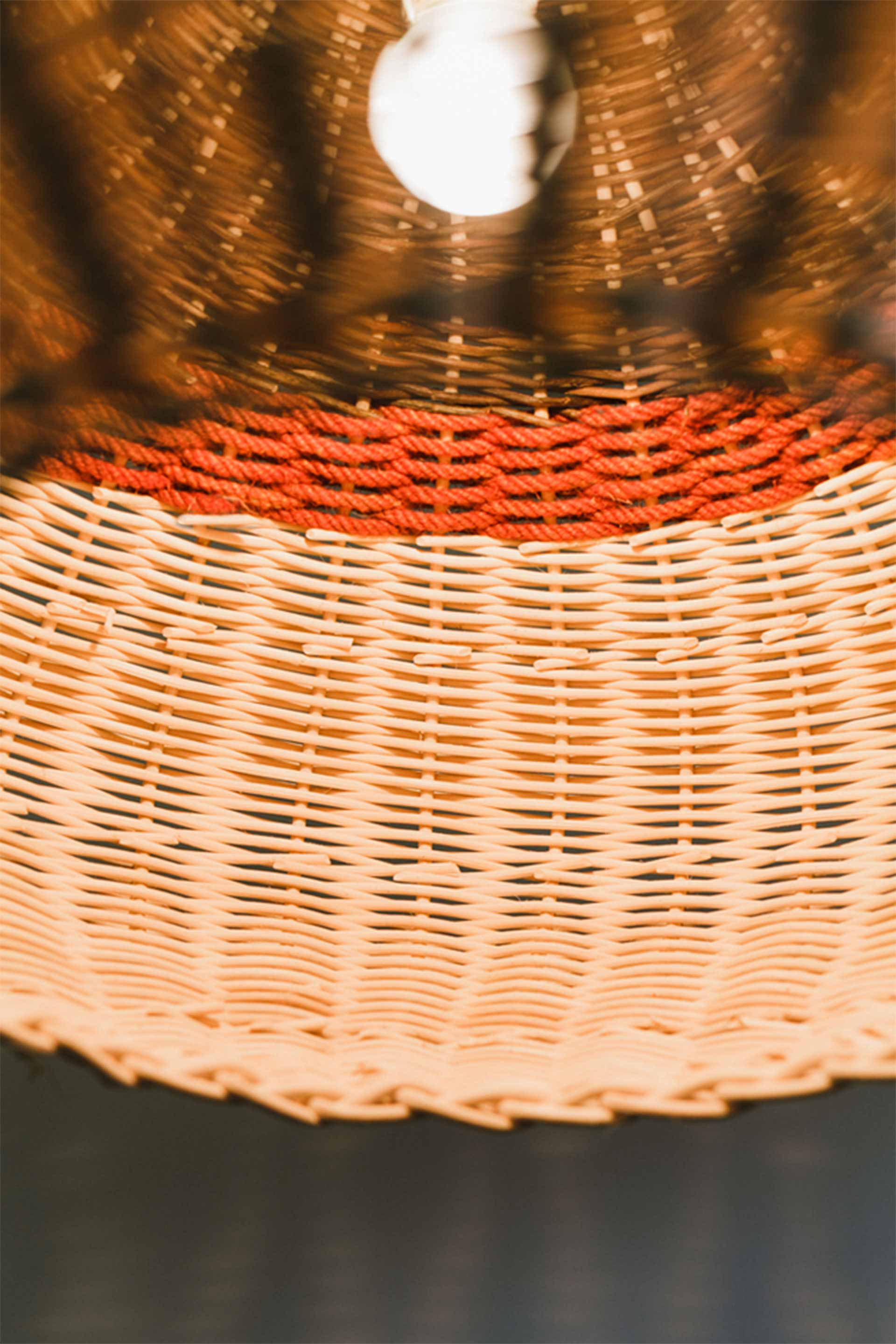 Internal detail of wicker light designed by Boex