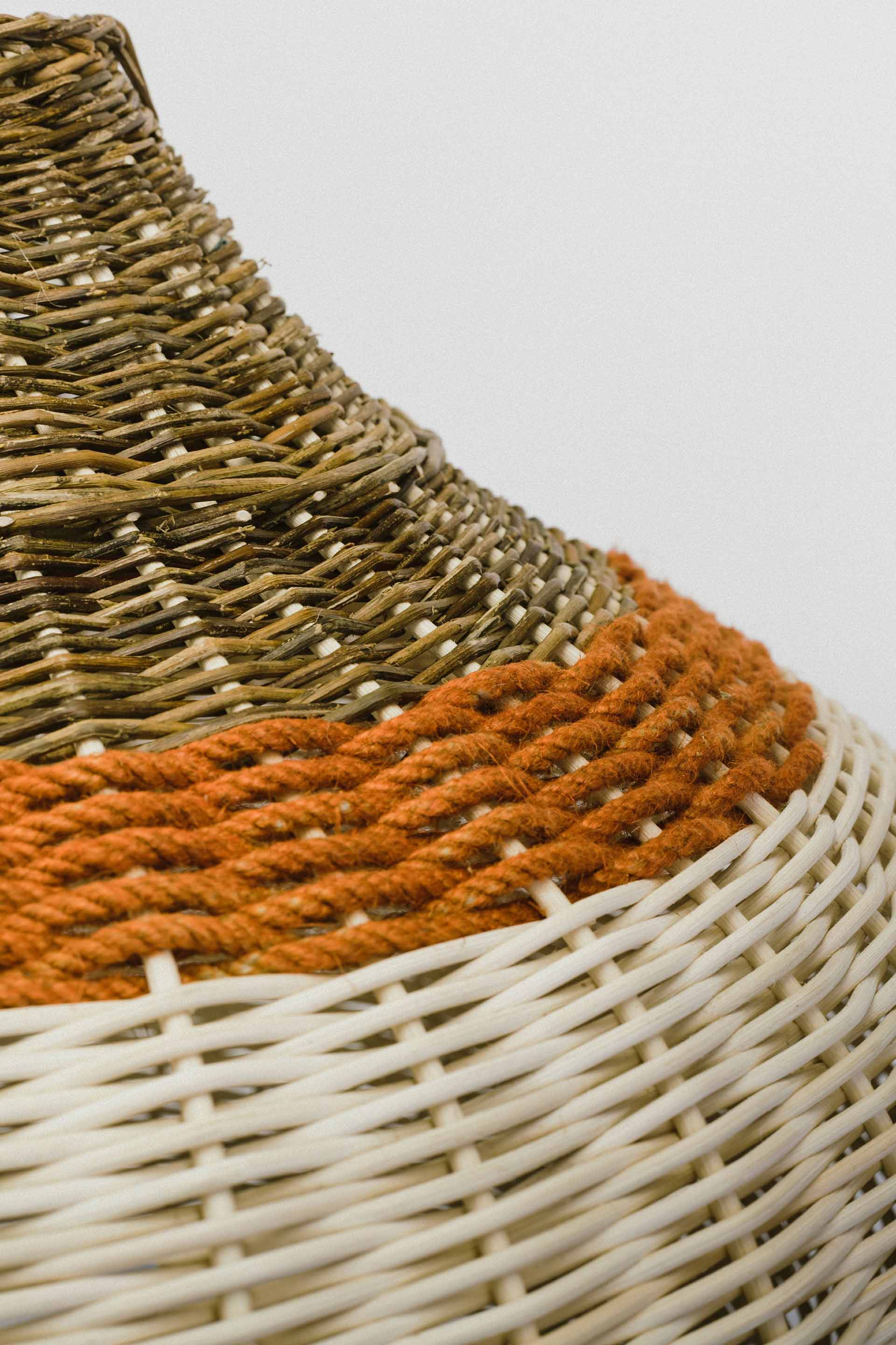 Orange band within woven pendant light
