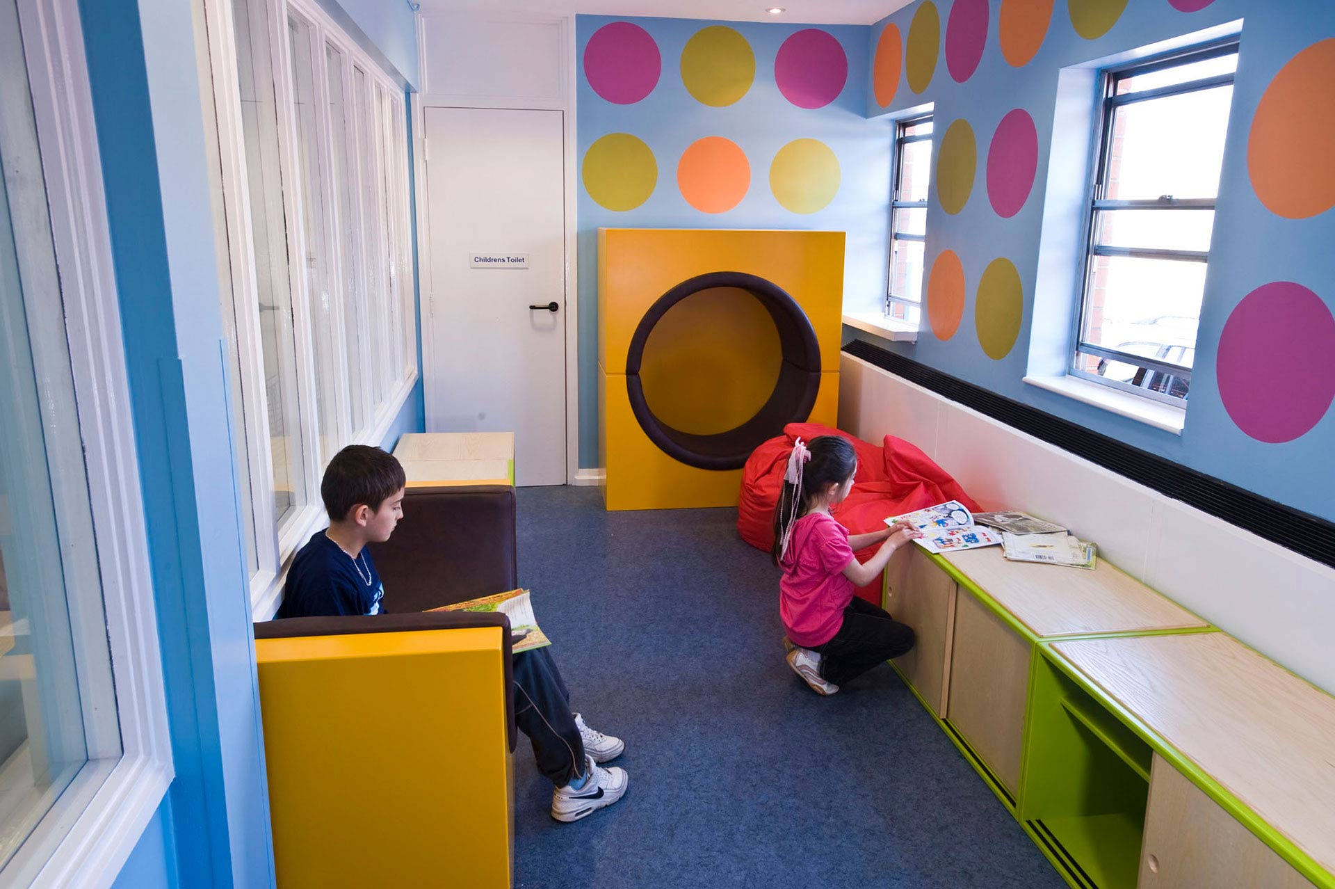 bright distracting environment for children at Frenchay NHS Hospital