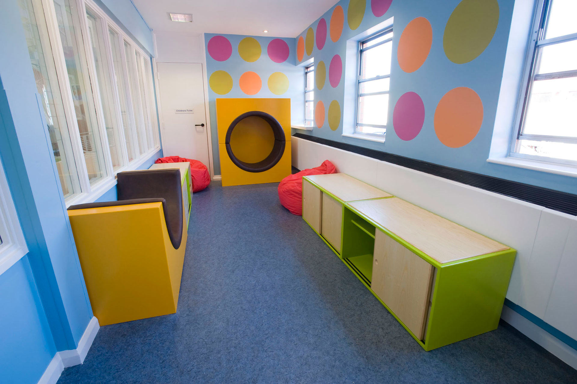 colourful children's A&E waiting area