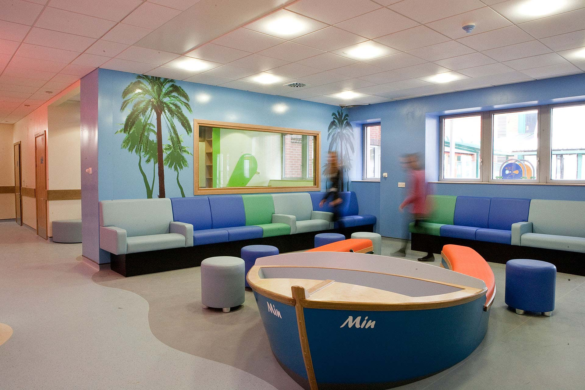 Playful boat seating for children waiting at NHS hospital