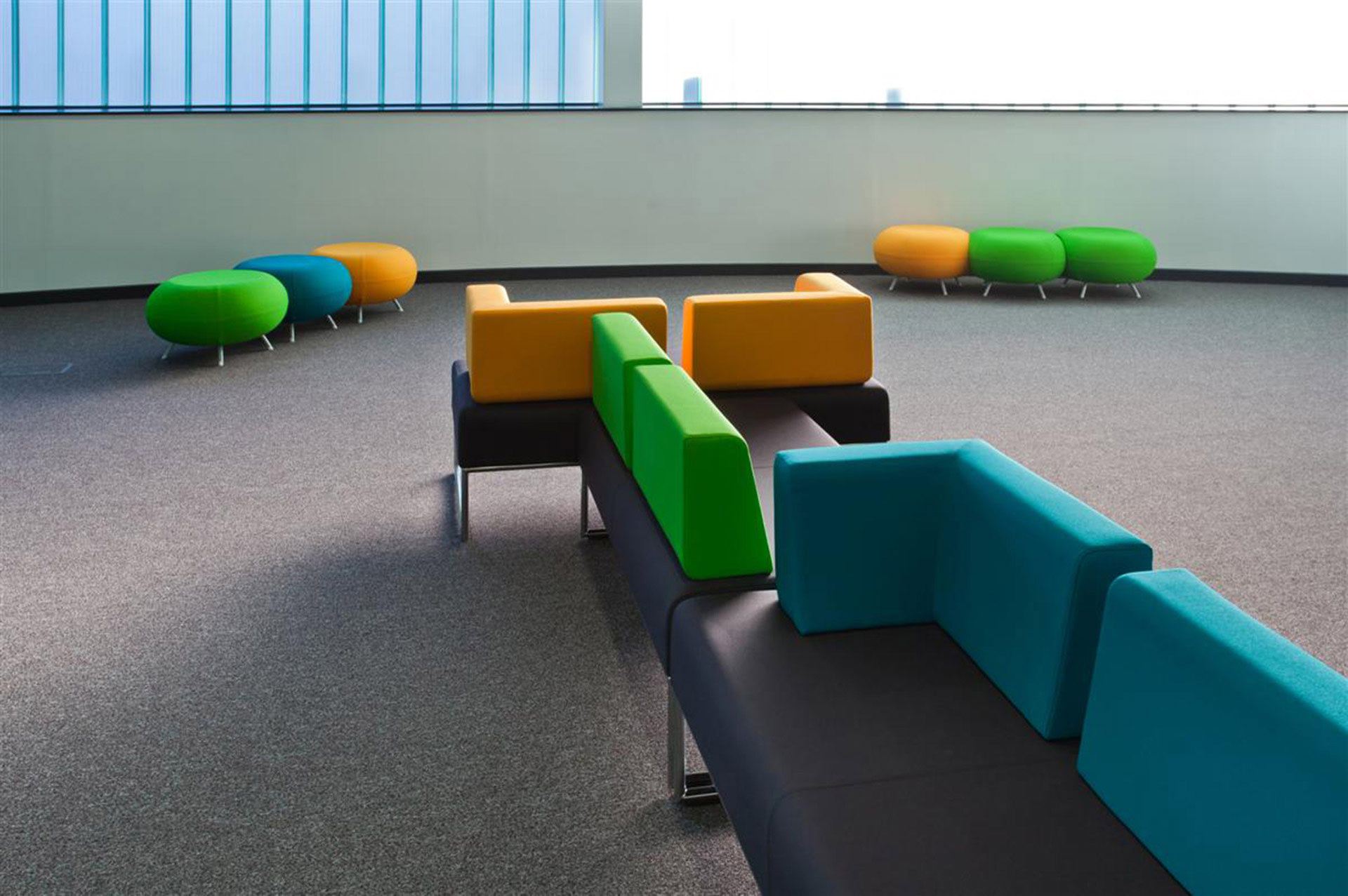 colourful modular seating with infection control upholstery