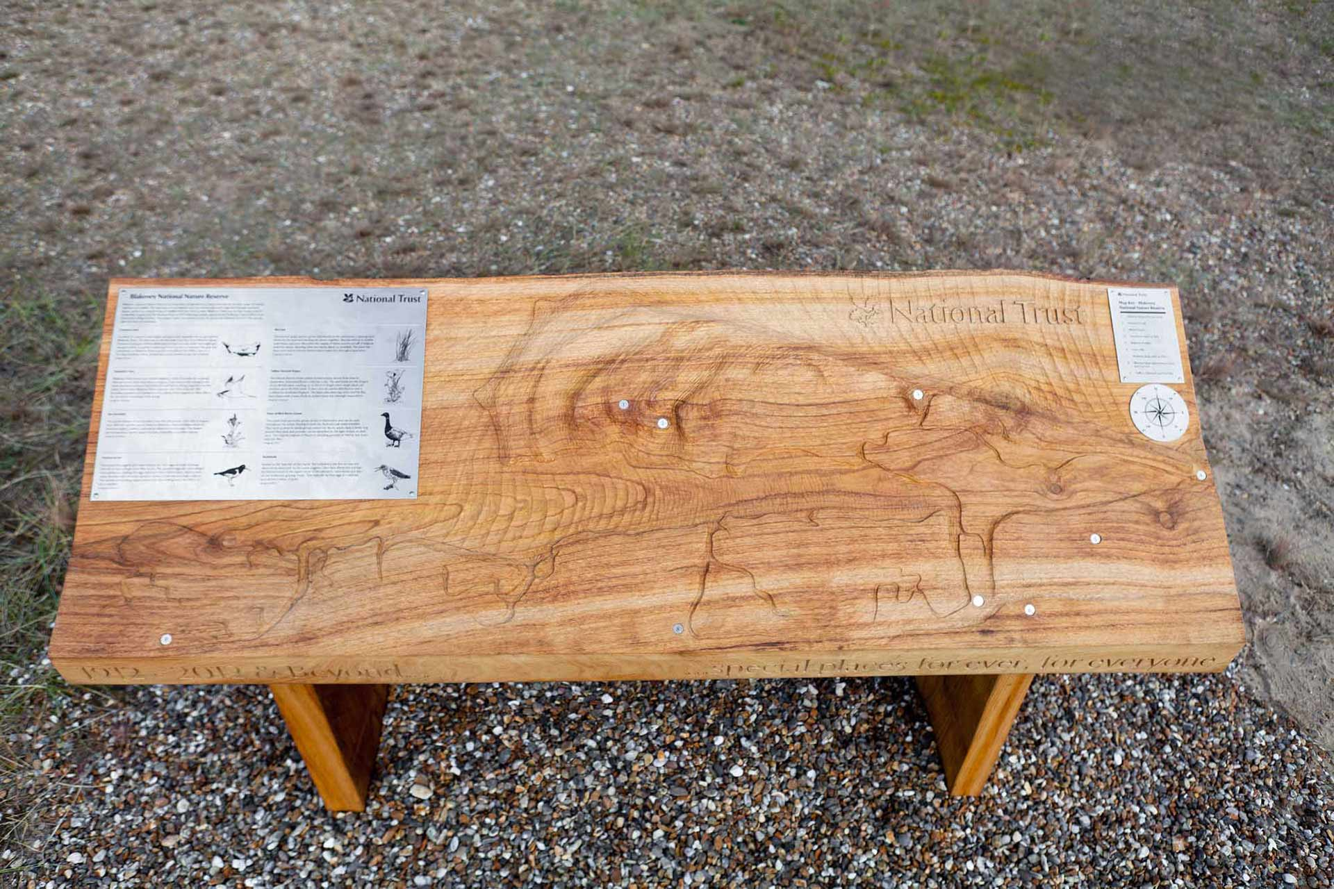 Hand Carved wildlife map for National Trust