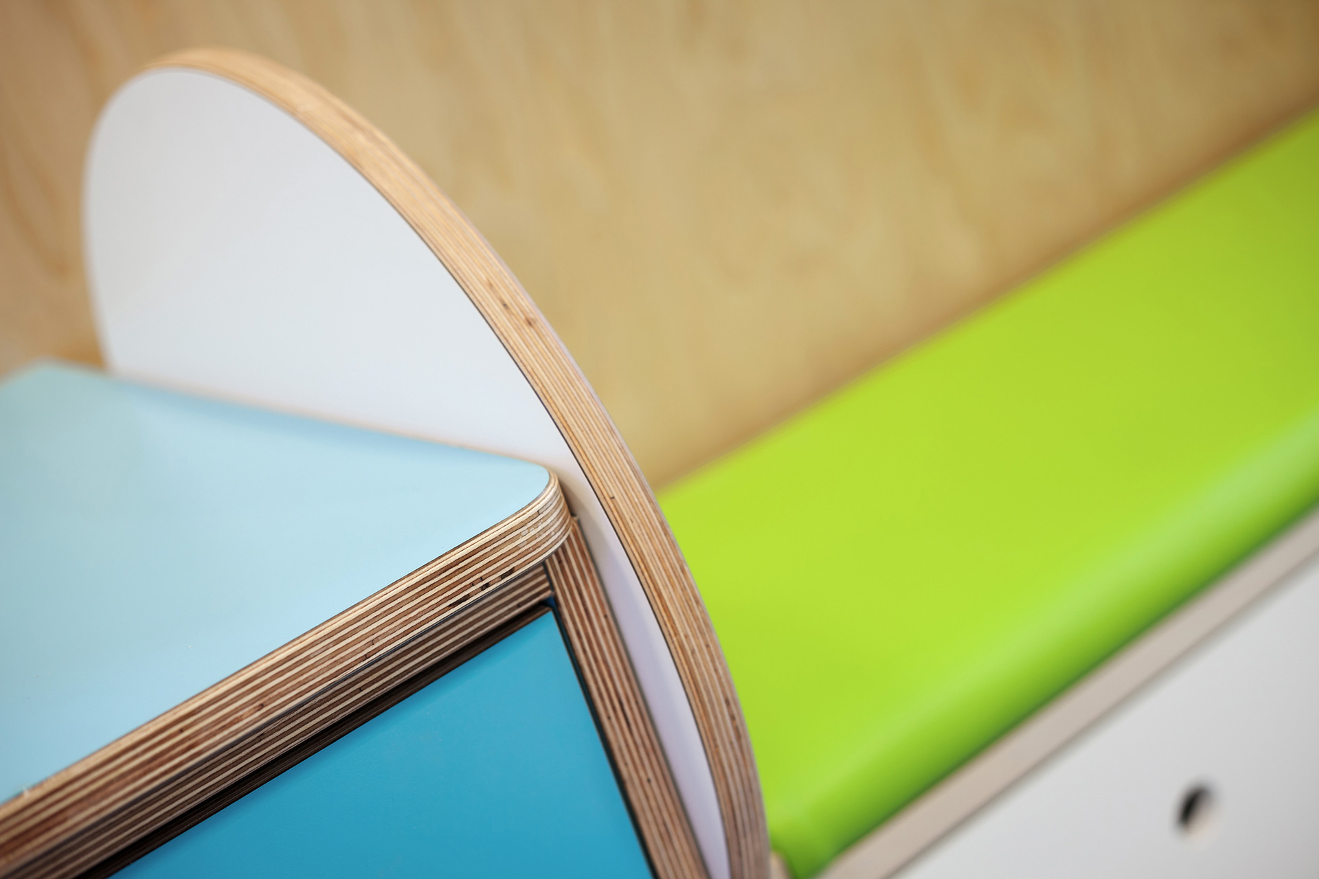 Colourful healthcare furniture plywood detail