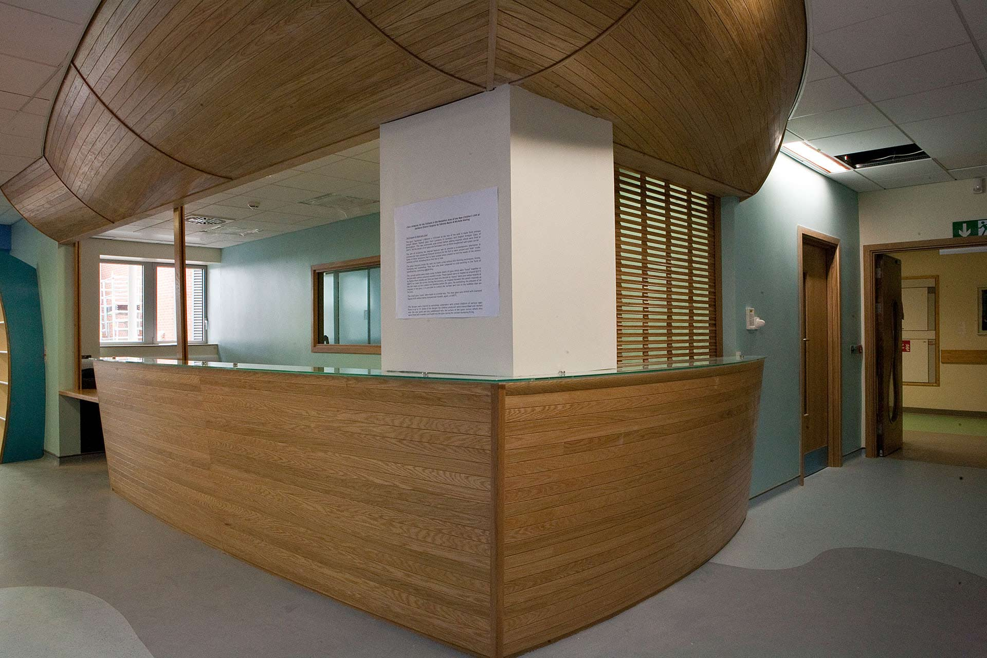 Nautical inspired reception desk designed by Boex for Salisbury District Hospital