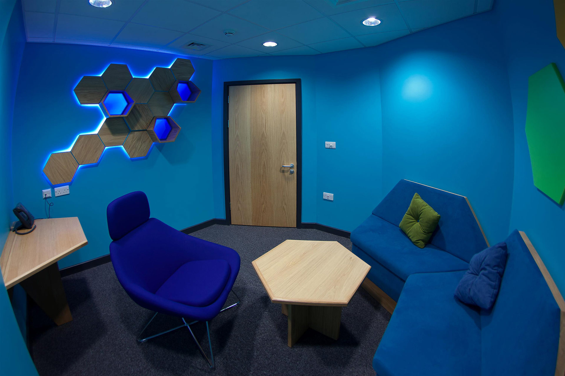 Ambient lighting within informal consultation rooms at NHS Young Person's Resource Center