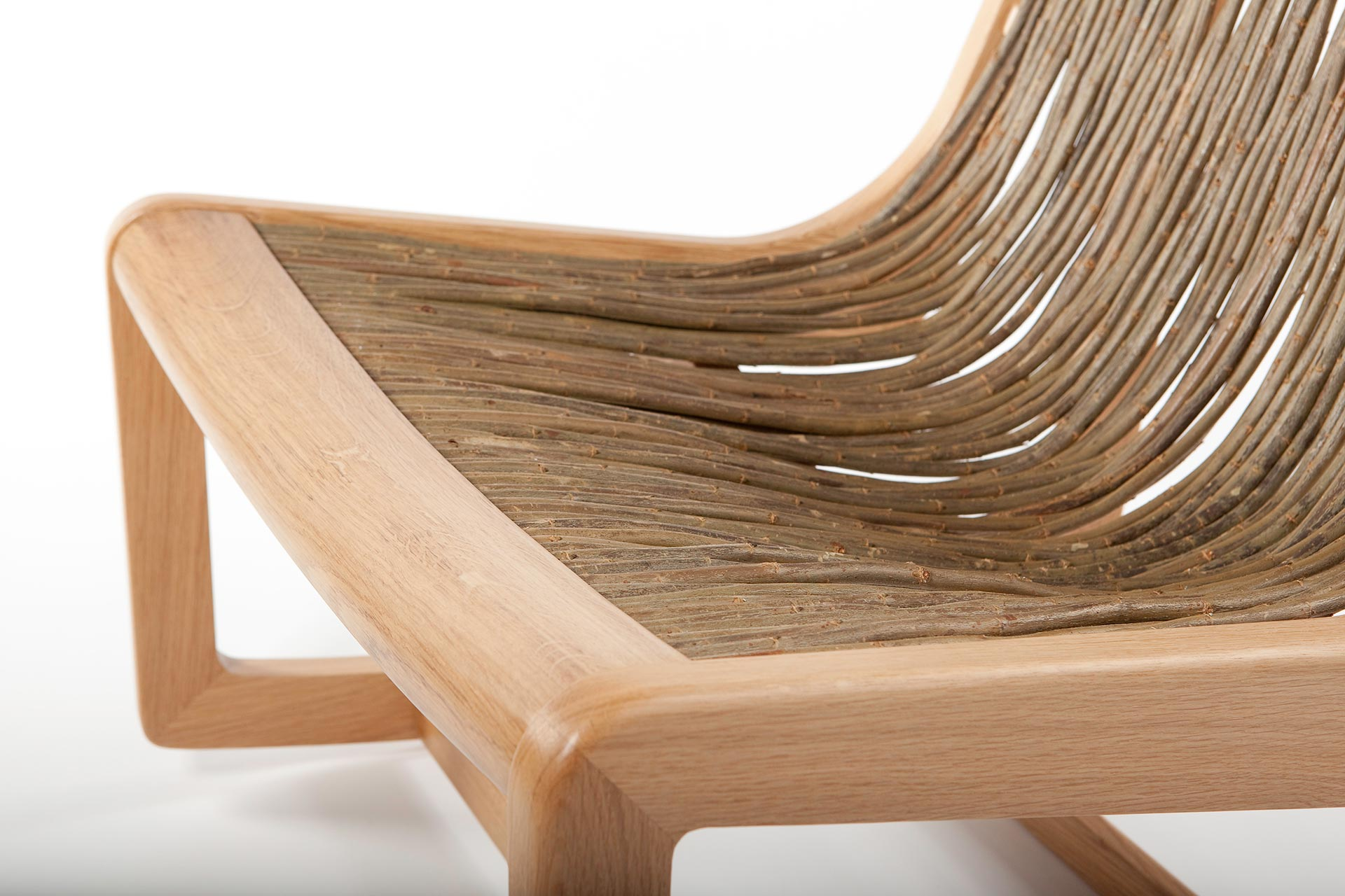 Handcrafted oak frame chair designed by Boex