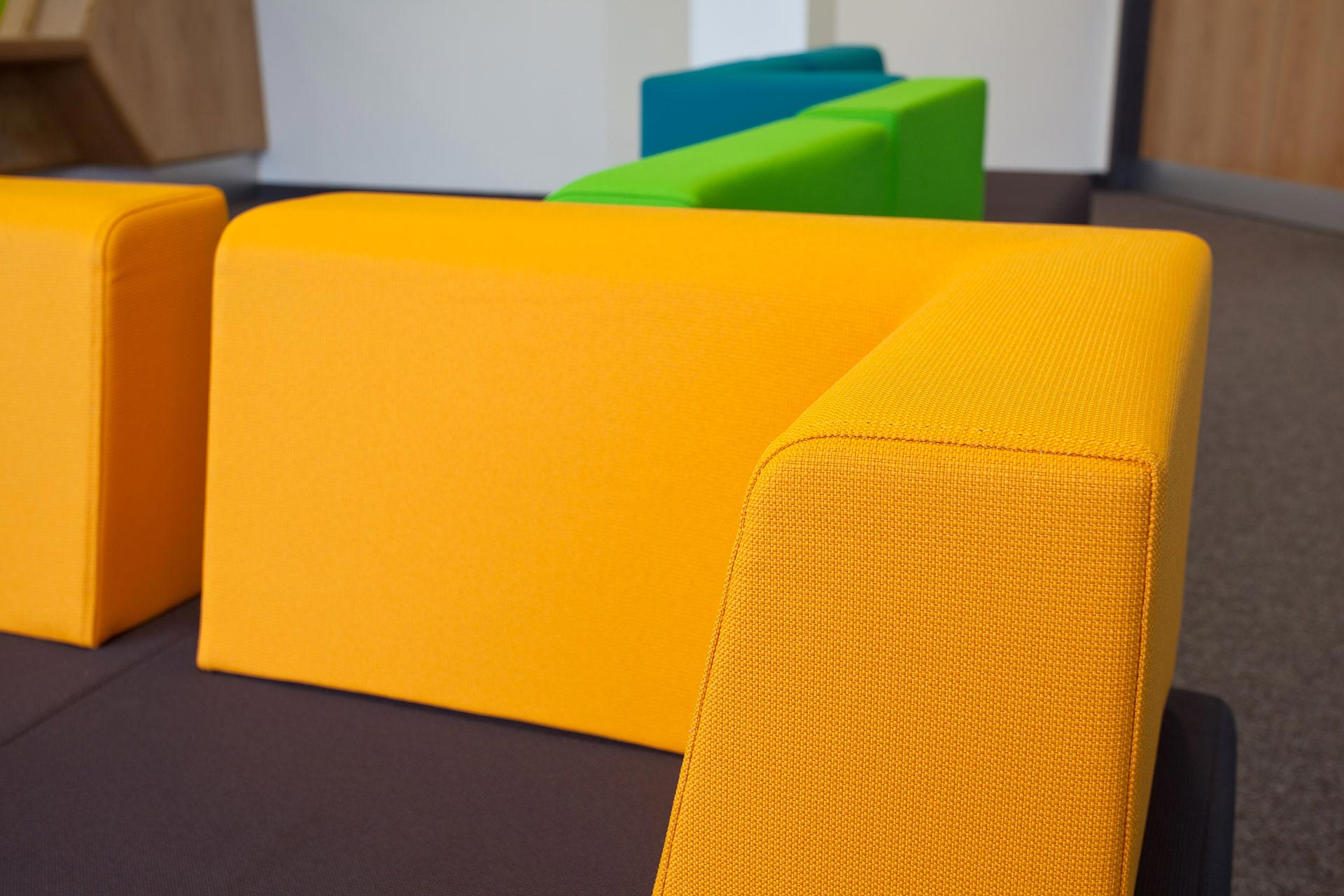 Colourful waiting room seating upholstery