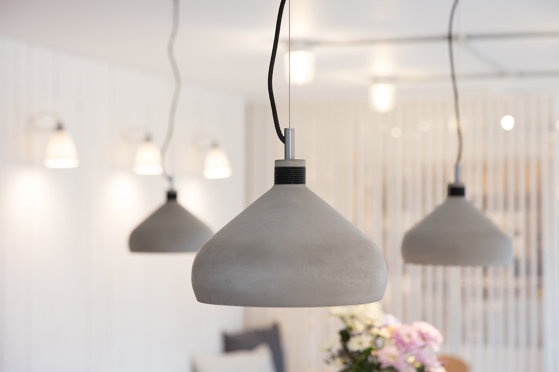 concrete pendants in keeping with the paired back minimal design