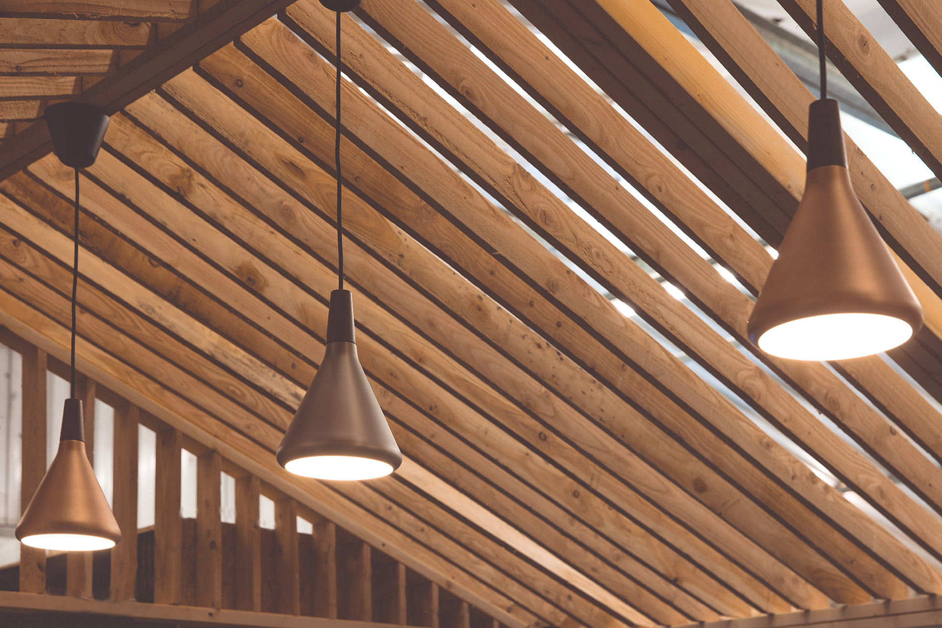 feature lighting in timber slat hut workshop